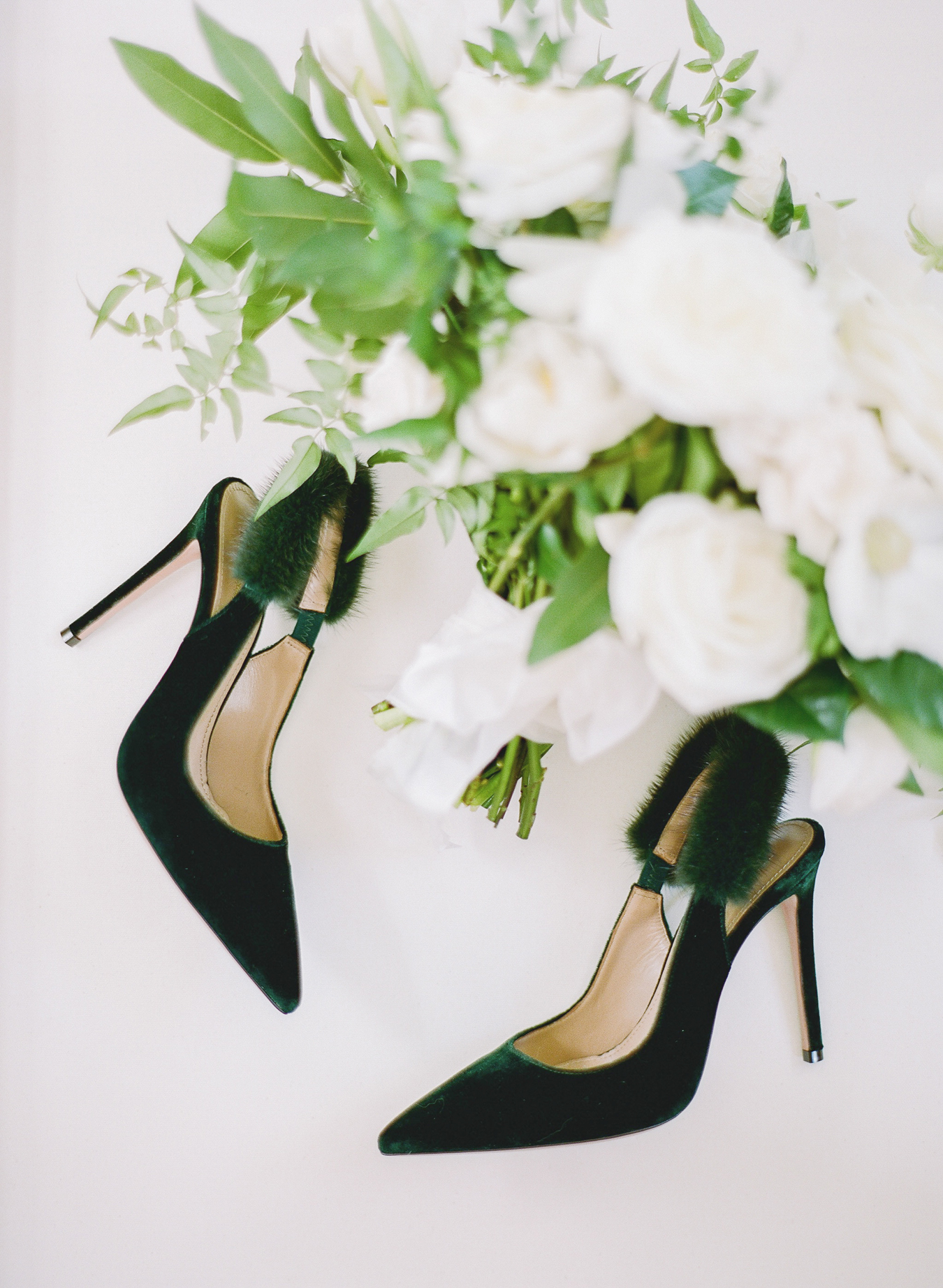 deep green velvet sling back fur strap pointed-toe pumps
