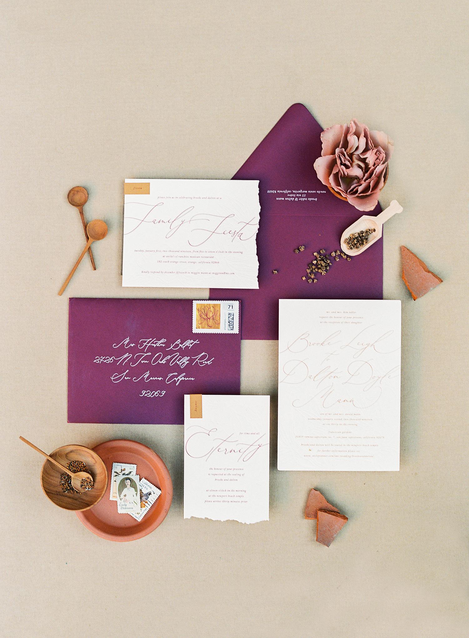 brooke dalton wedding purple and orange invites