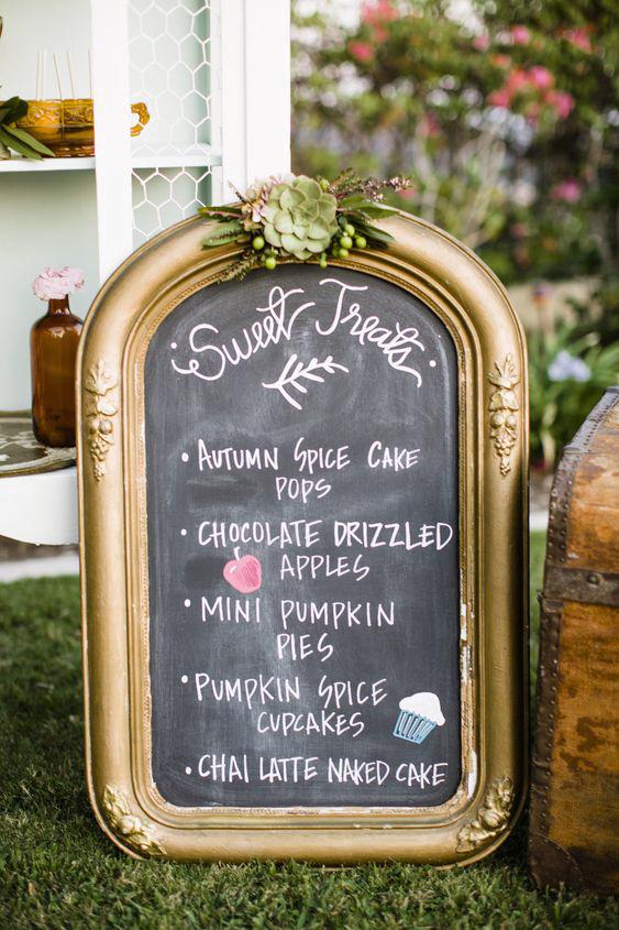 dessert menu ideas antique chalkboard