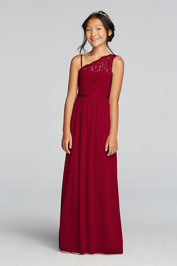 David's Bridal One-Shoulder Long Lace Bodice Dress