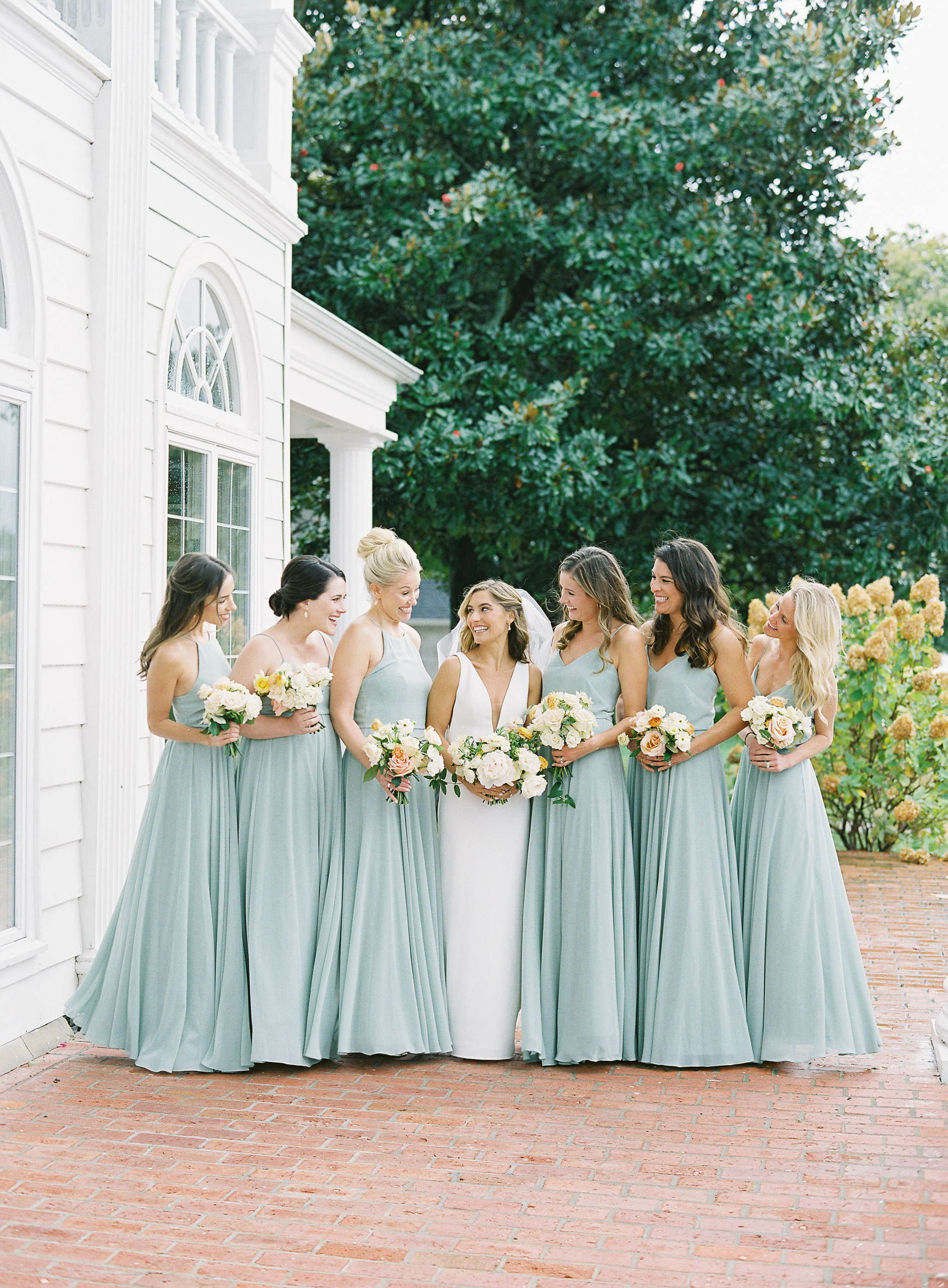 lauren alex wedding bridesmaids in sea foam dresses