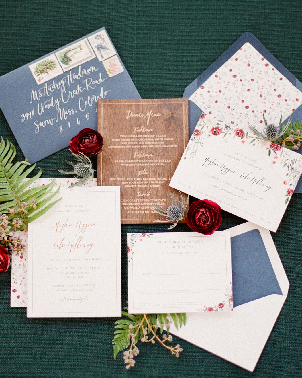 bronze, gray-blue and floral design stationary suite