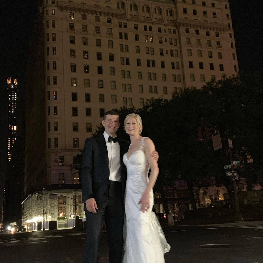 Amy Rosenthal and Craig Silverstein at The Plaza Hotel during the New York City blackout