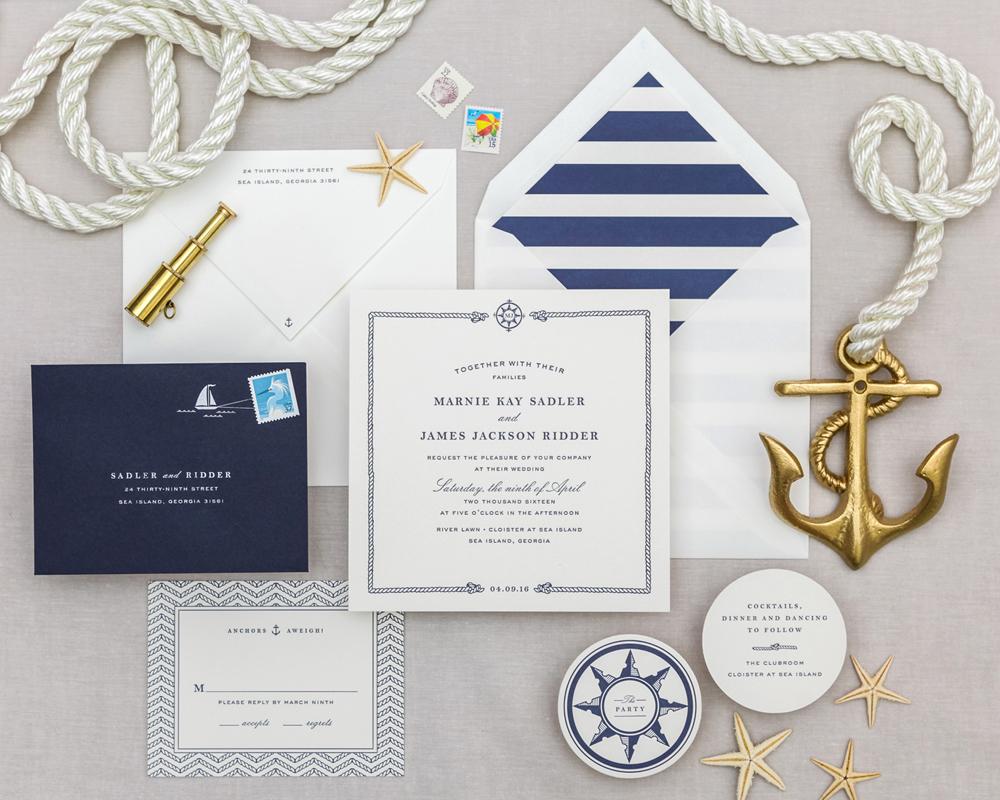 nautical invitation set with blue sea sailboat design elements