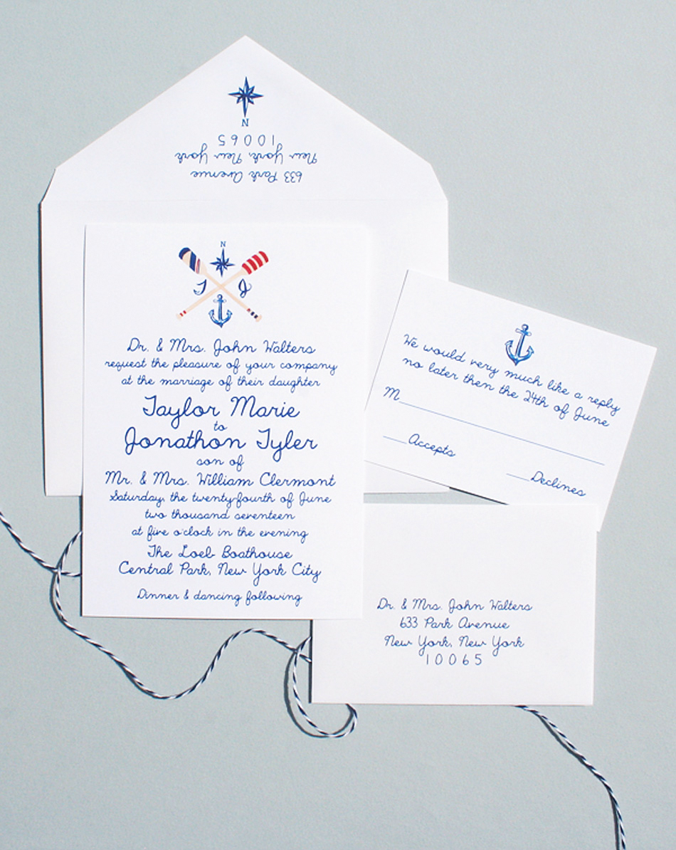 nautical invitation set with hand drawn illustrations in cobalt blue