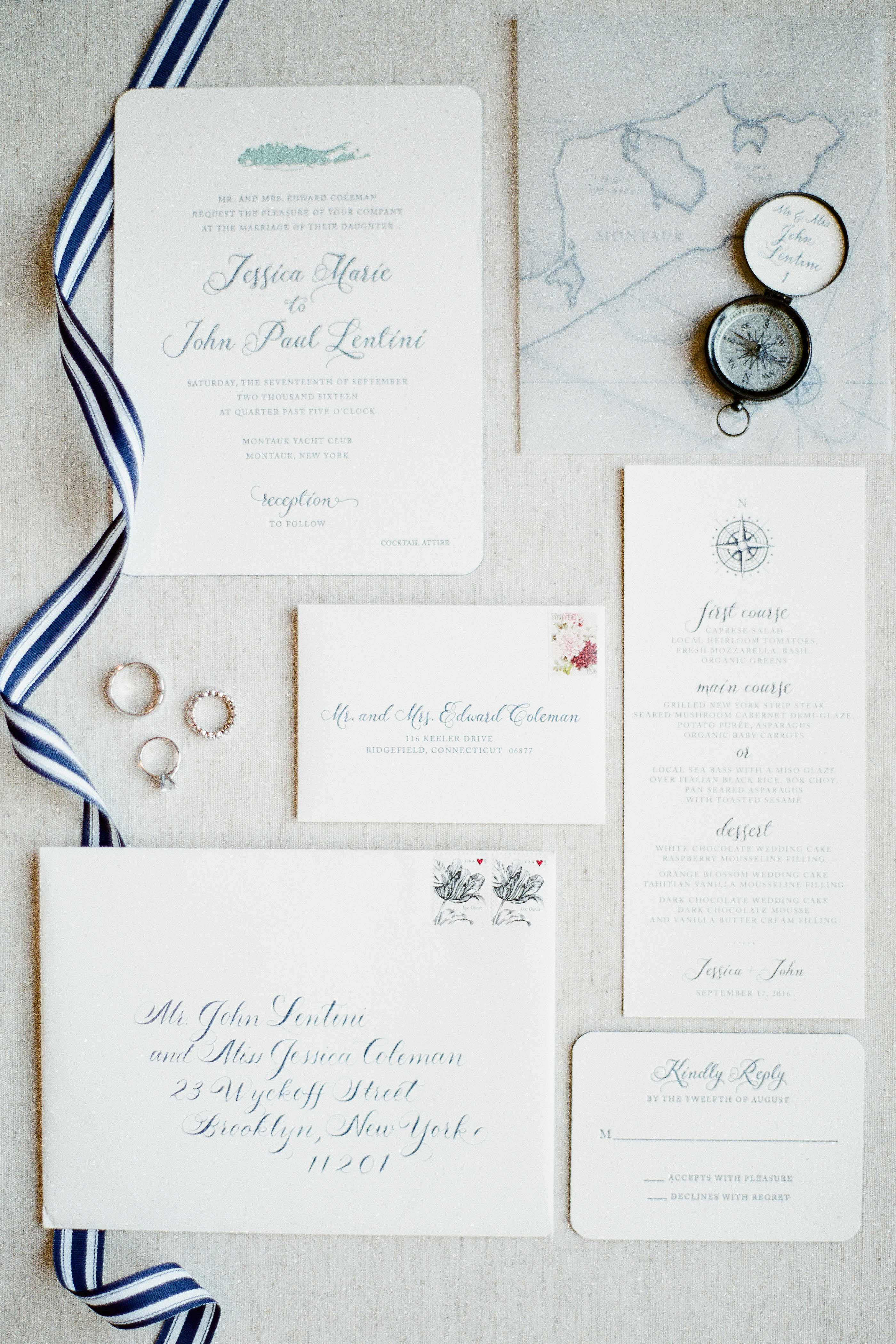 nautical invitation set with blue green text