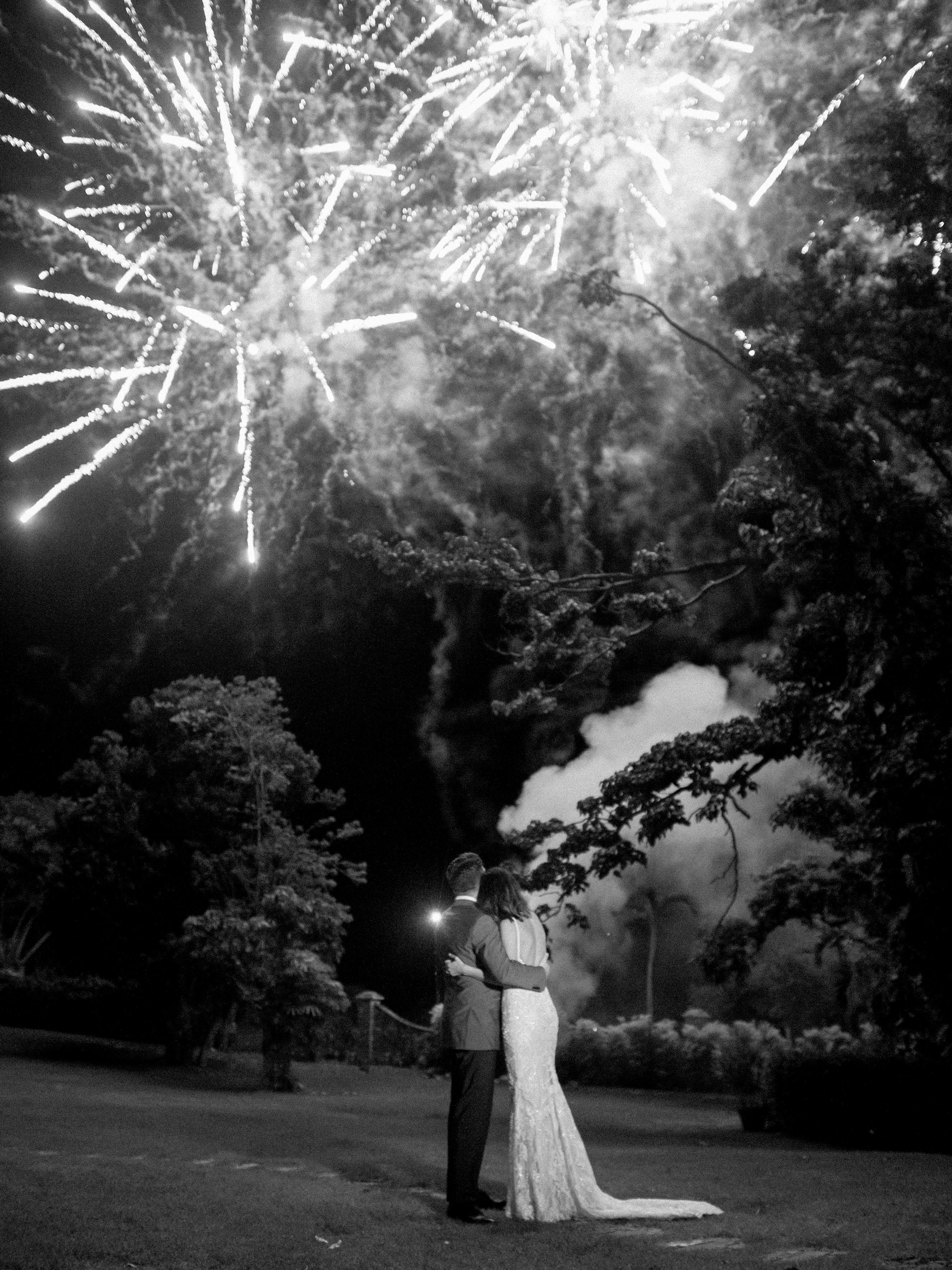 jessica ryan wedding bride and groom fireworks