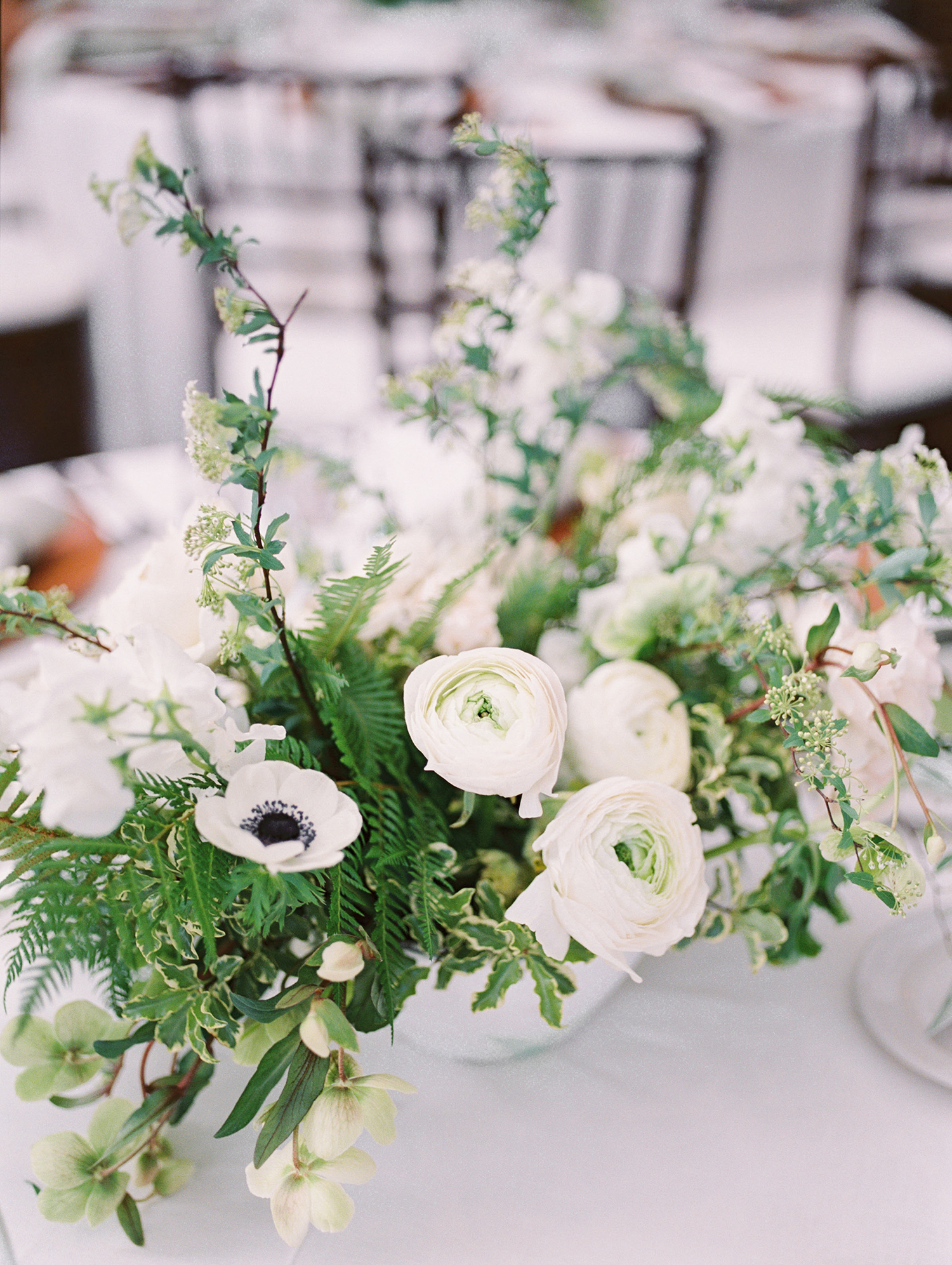 lauren aaron wedding white floral centerpiece