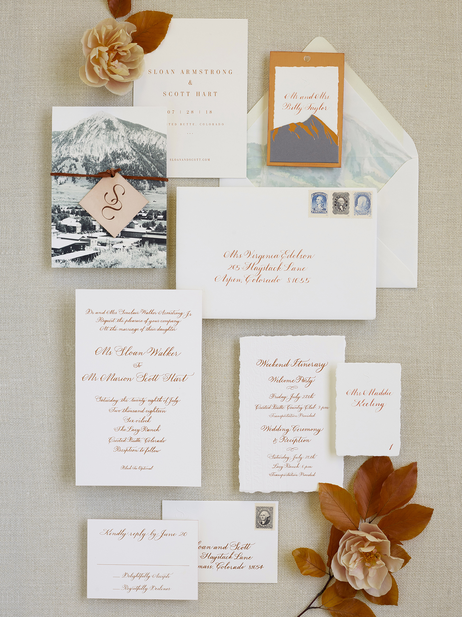 sloan scott wedding rust and teal invitations