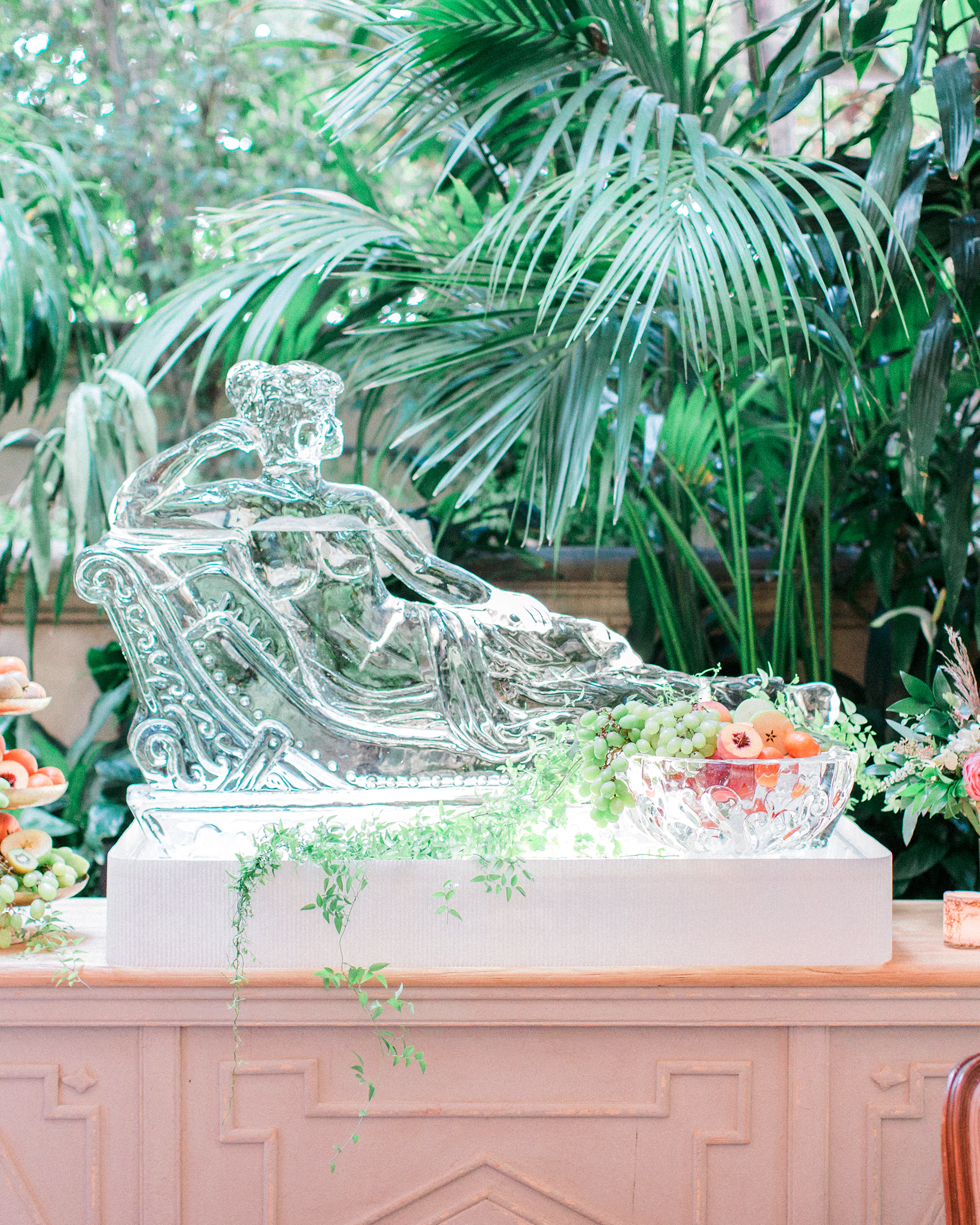 wedding ice sculpture fruit display