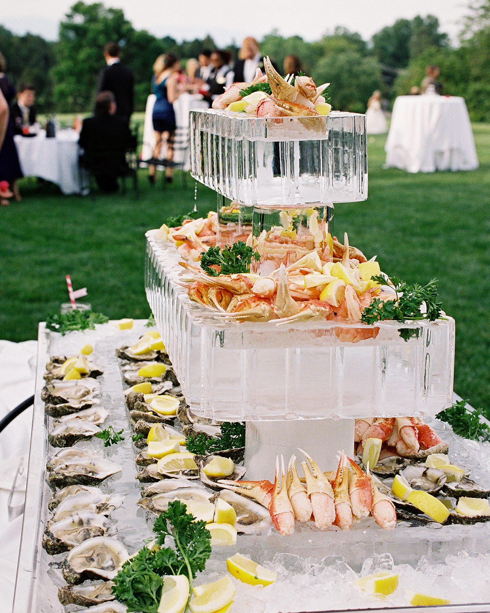 wedding ice sculpture tiered raw bar