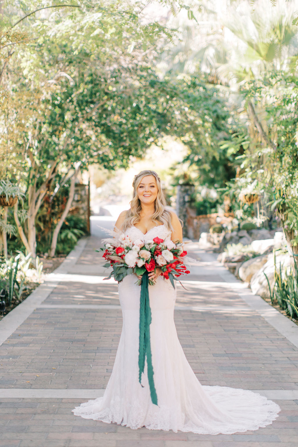 meagan robert wedding bride in courtyard