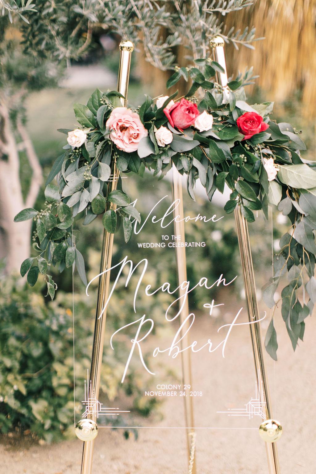 meagan robert wedding transparent sign