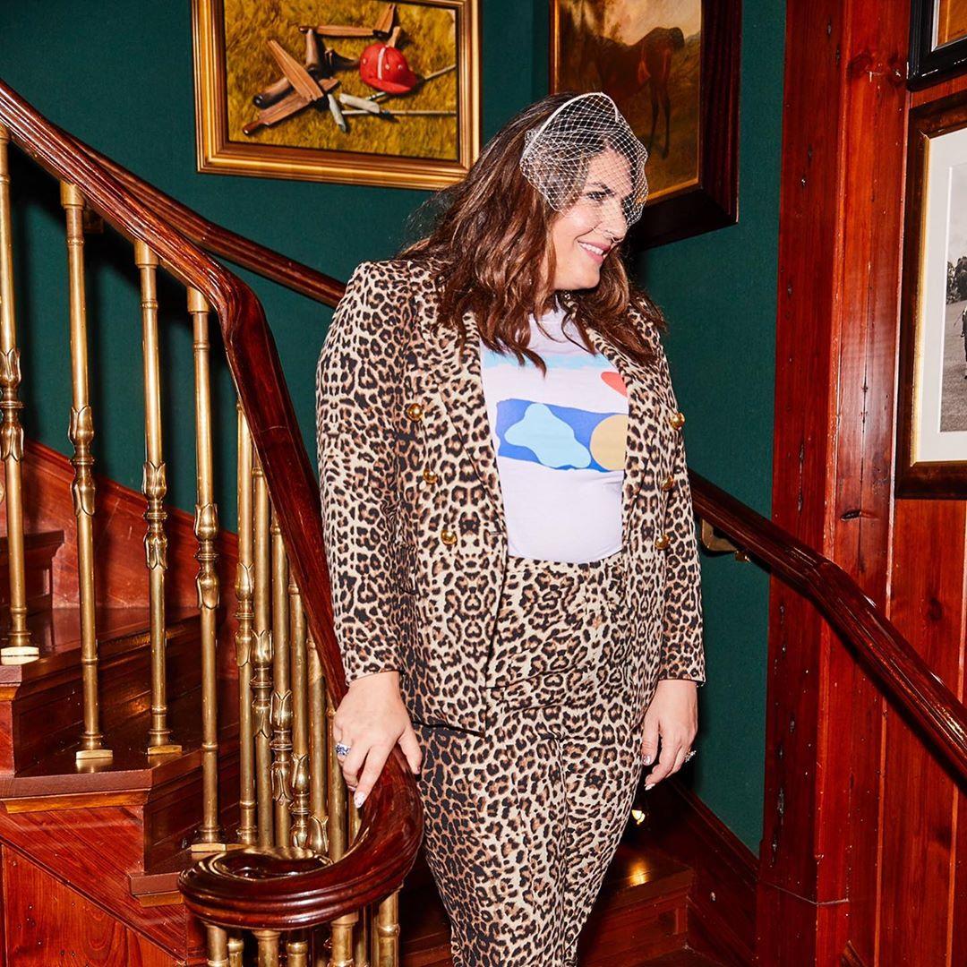 katie sturino second wedding look cheetah suit