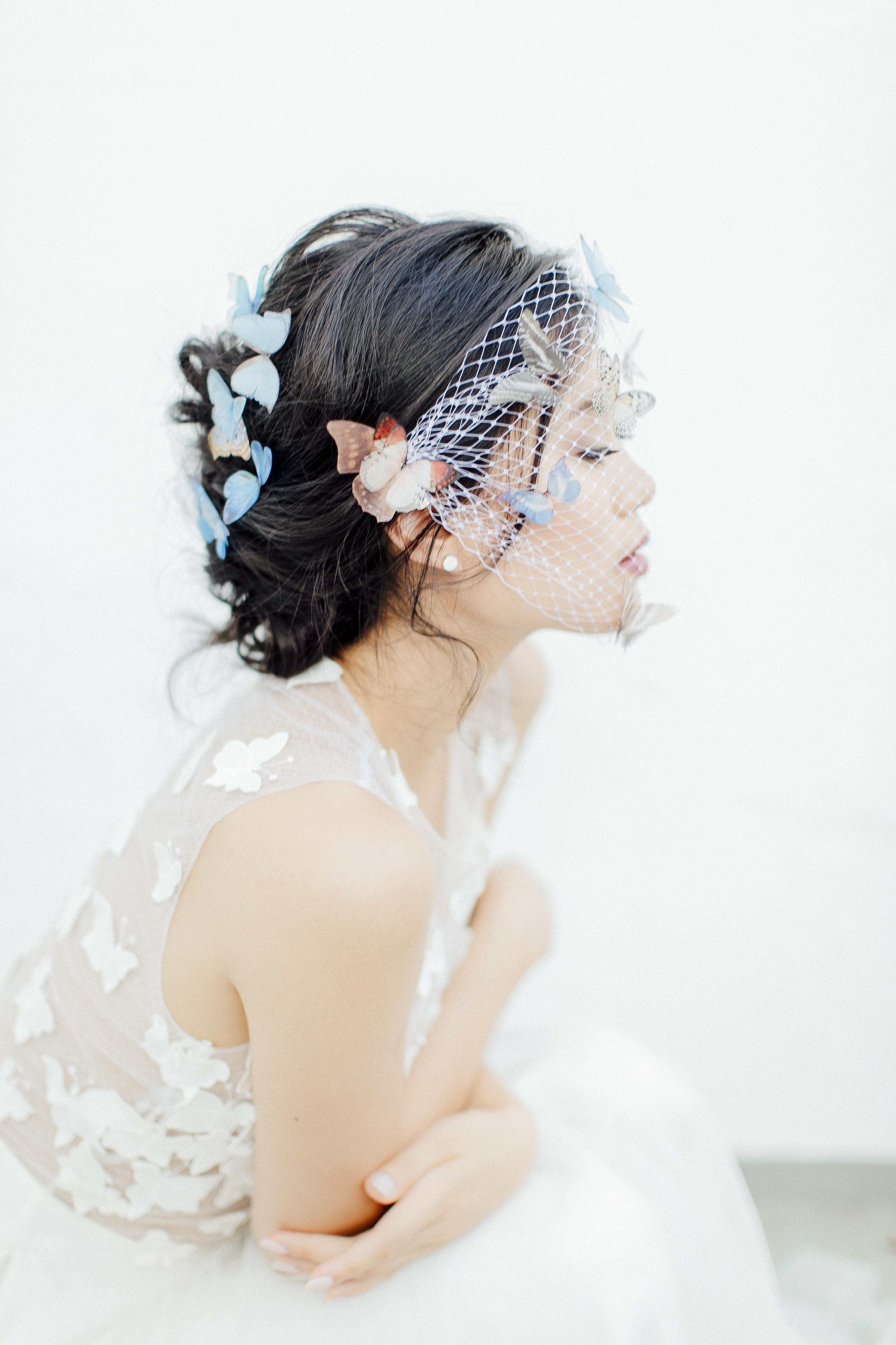 bride wearing bird cage veil with butterflies