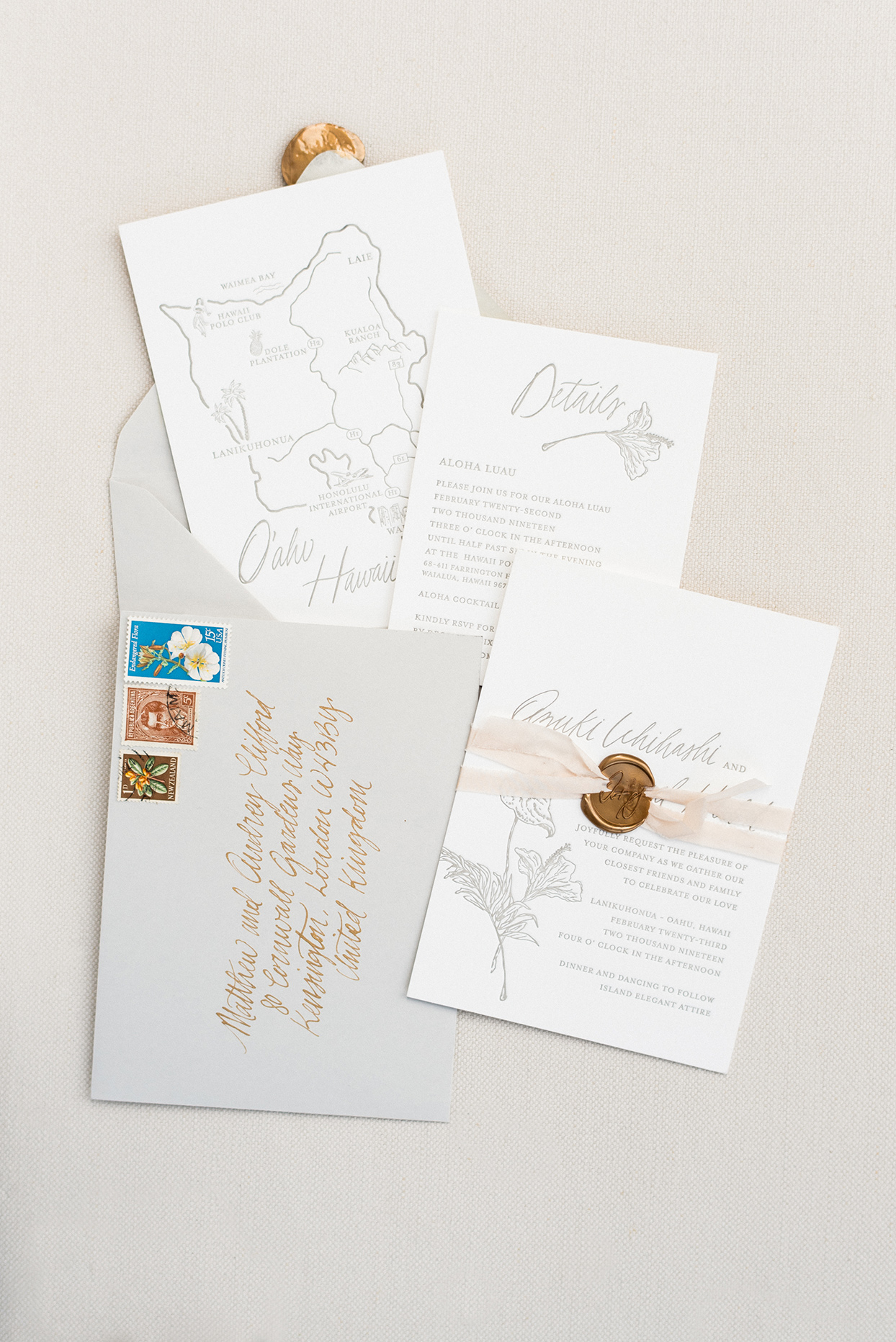 azuki sam wedding invites neutral colors