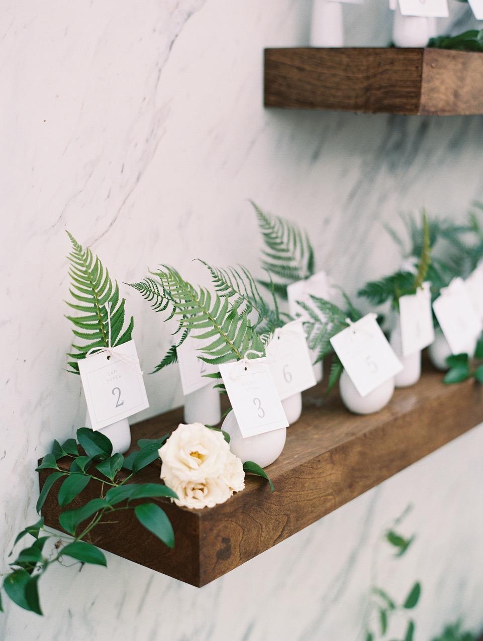 porcelain bud vase escort cards with ferns