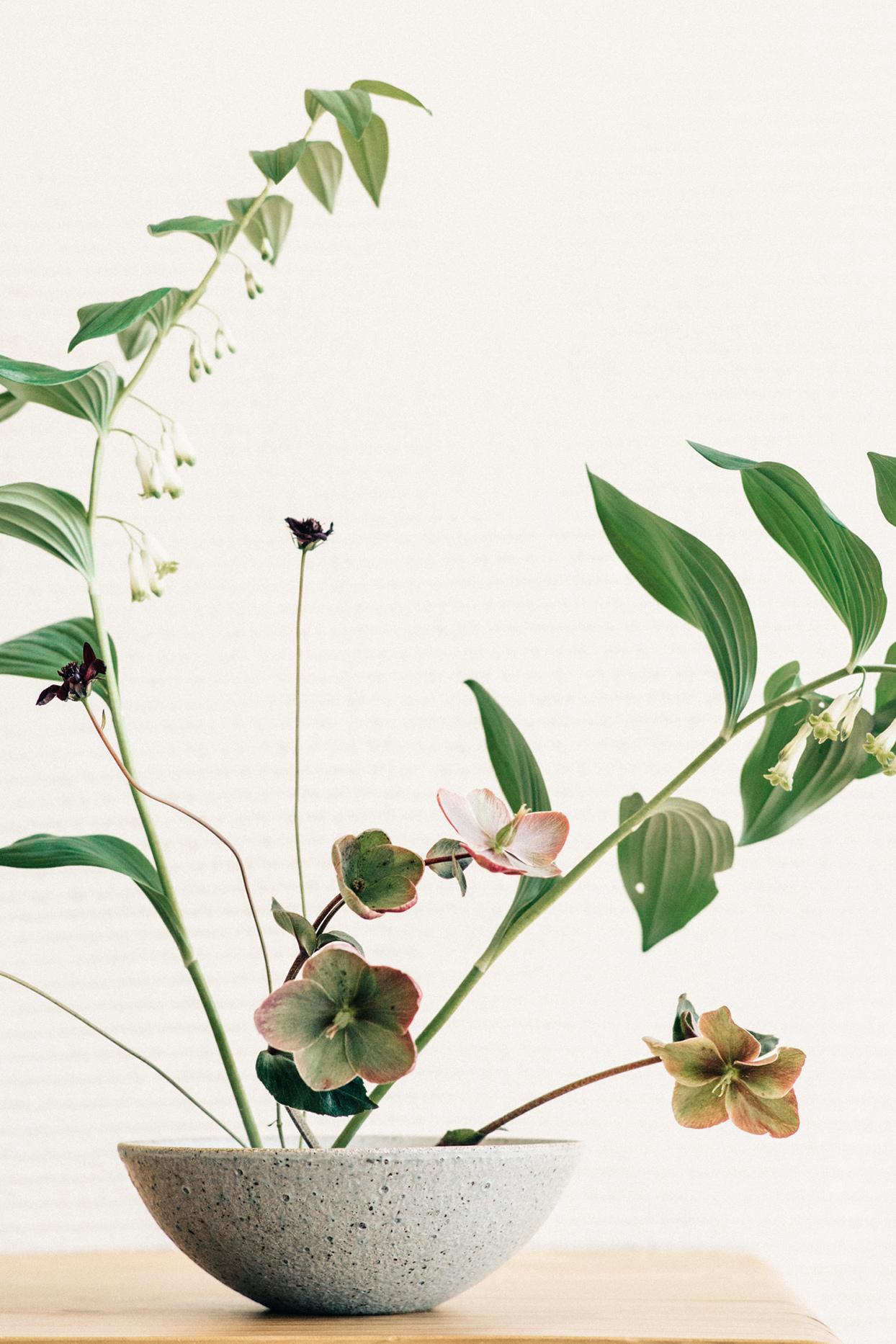 minimalist ikebana florals in stone bowl