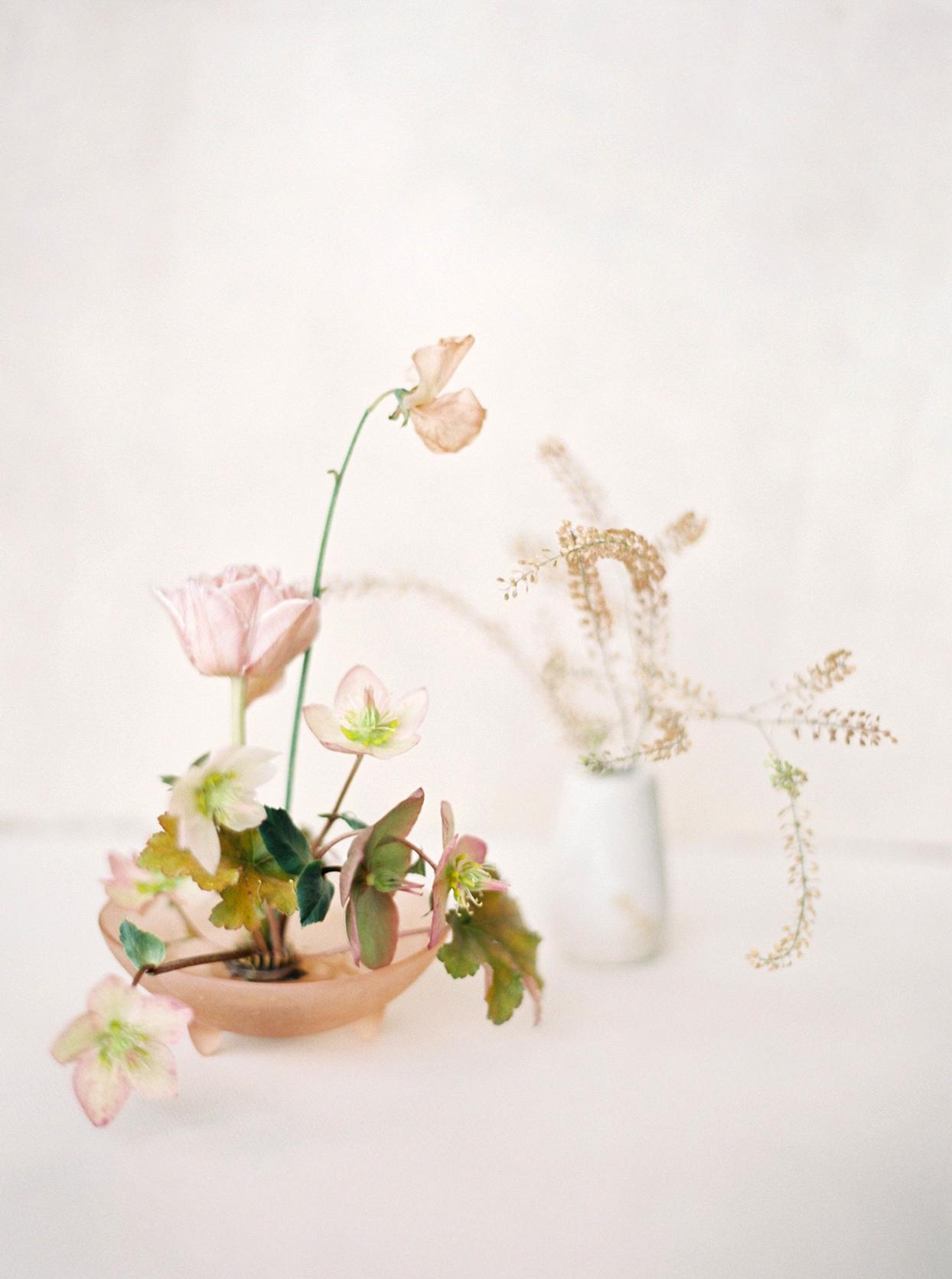 minimalist ikebana fragile floral arrangement