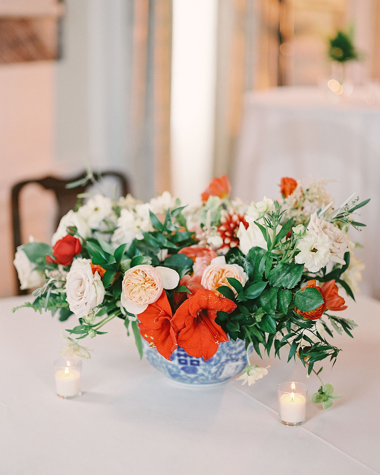 beverly steve red and white floral wedding centerpiece