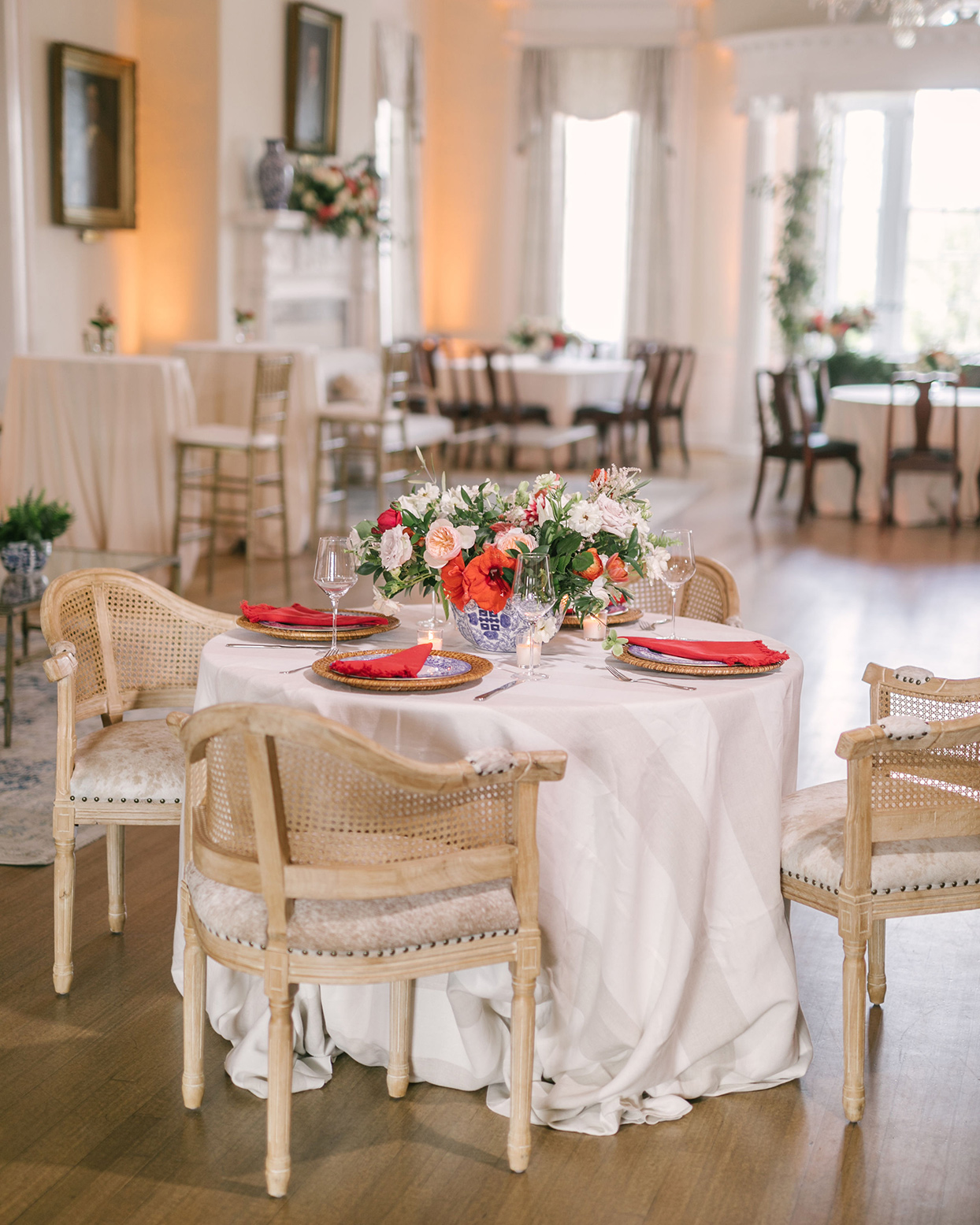 beverly steve wedding reception table with floral centerpiece