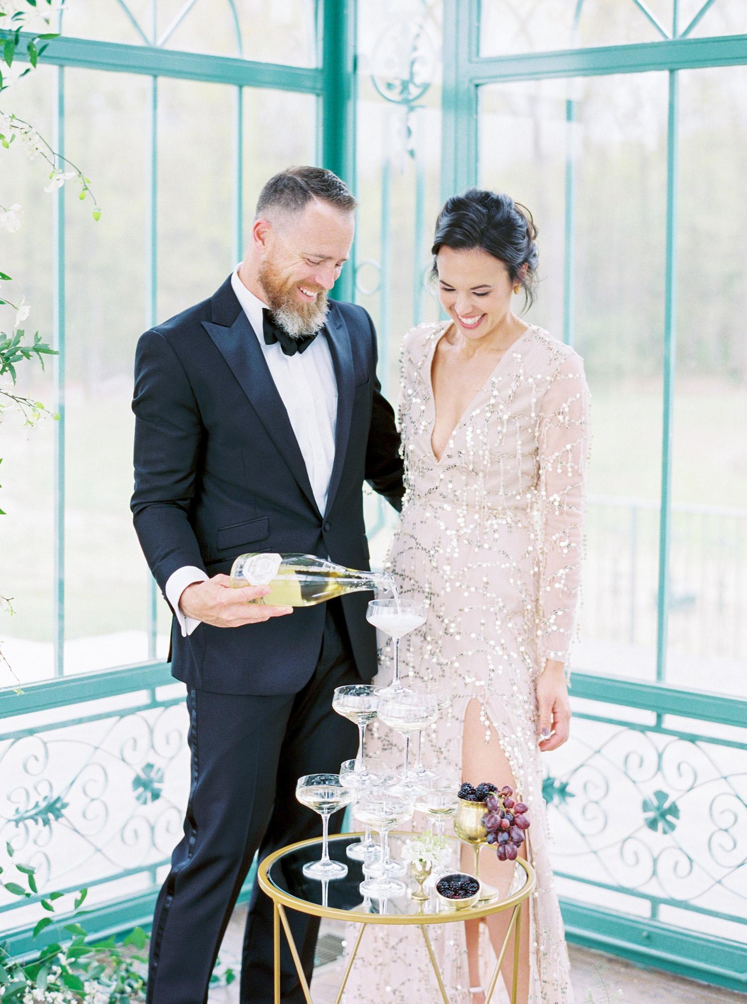 evan dustin vow renewal bride groom champagne tower