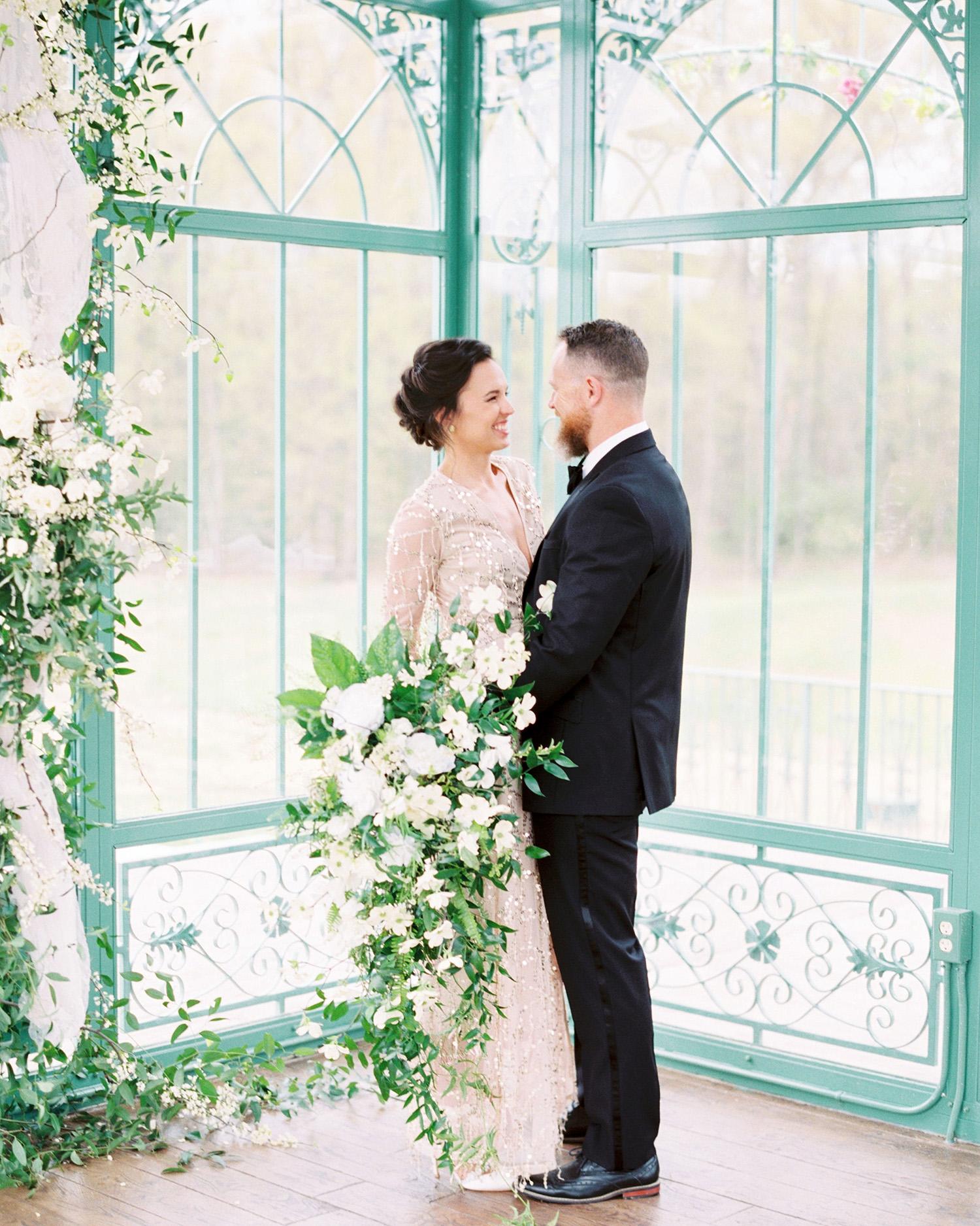 evan dustin vow renewal bride groom couple with bouquet