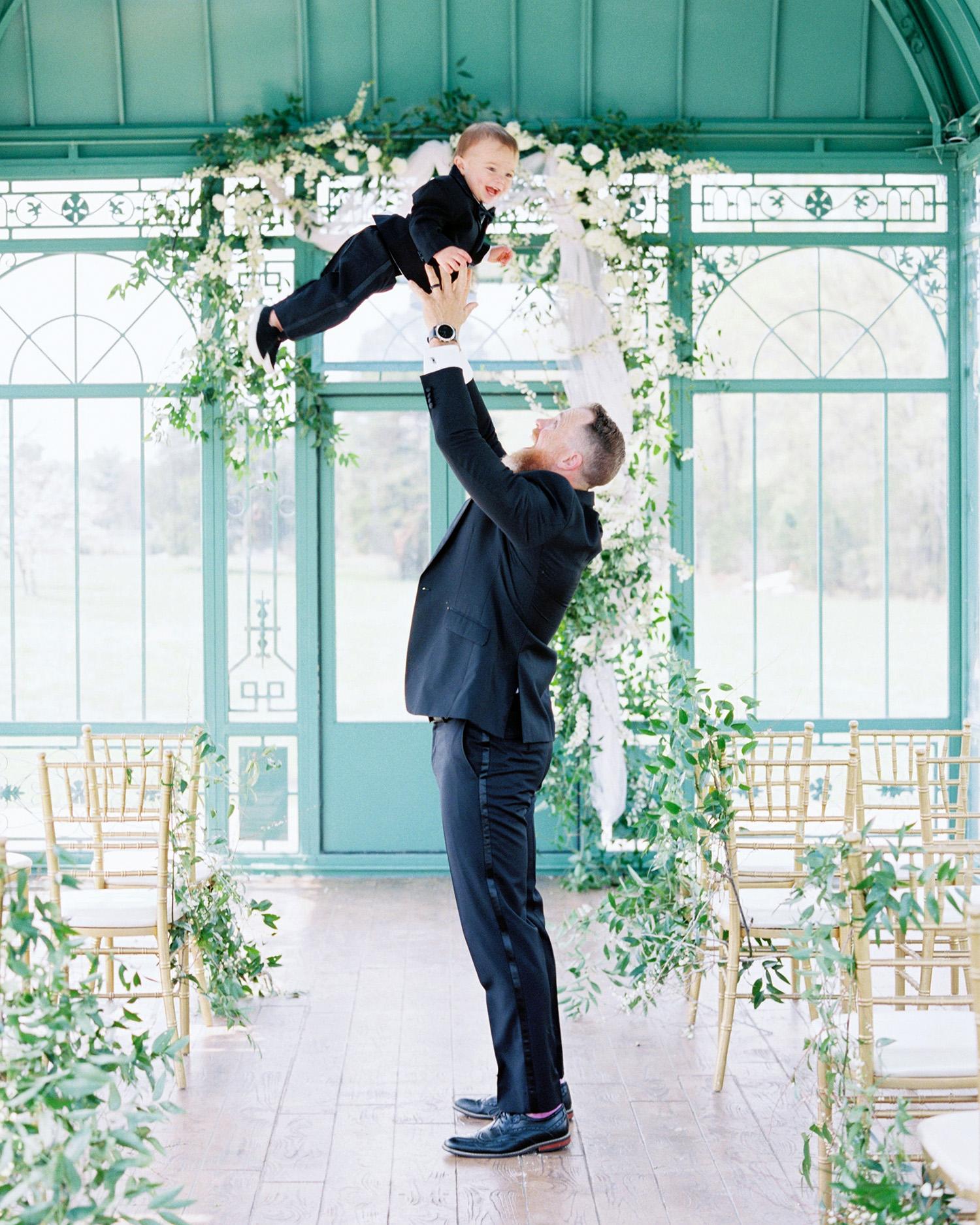 evan dustin vow renewal groom and son