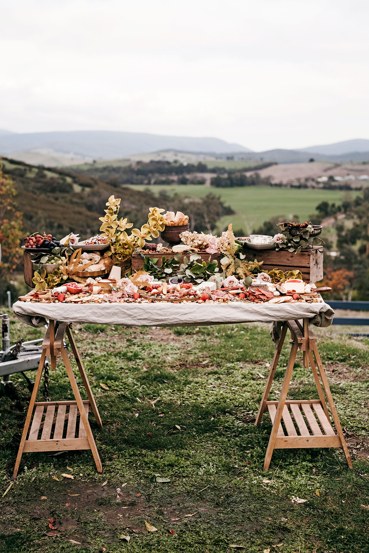 wedding grazing table with mountain view