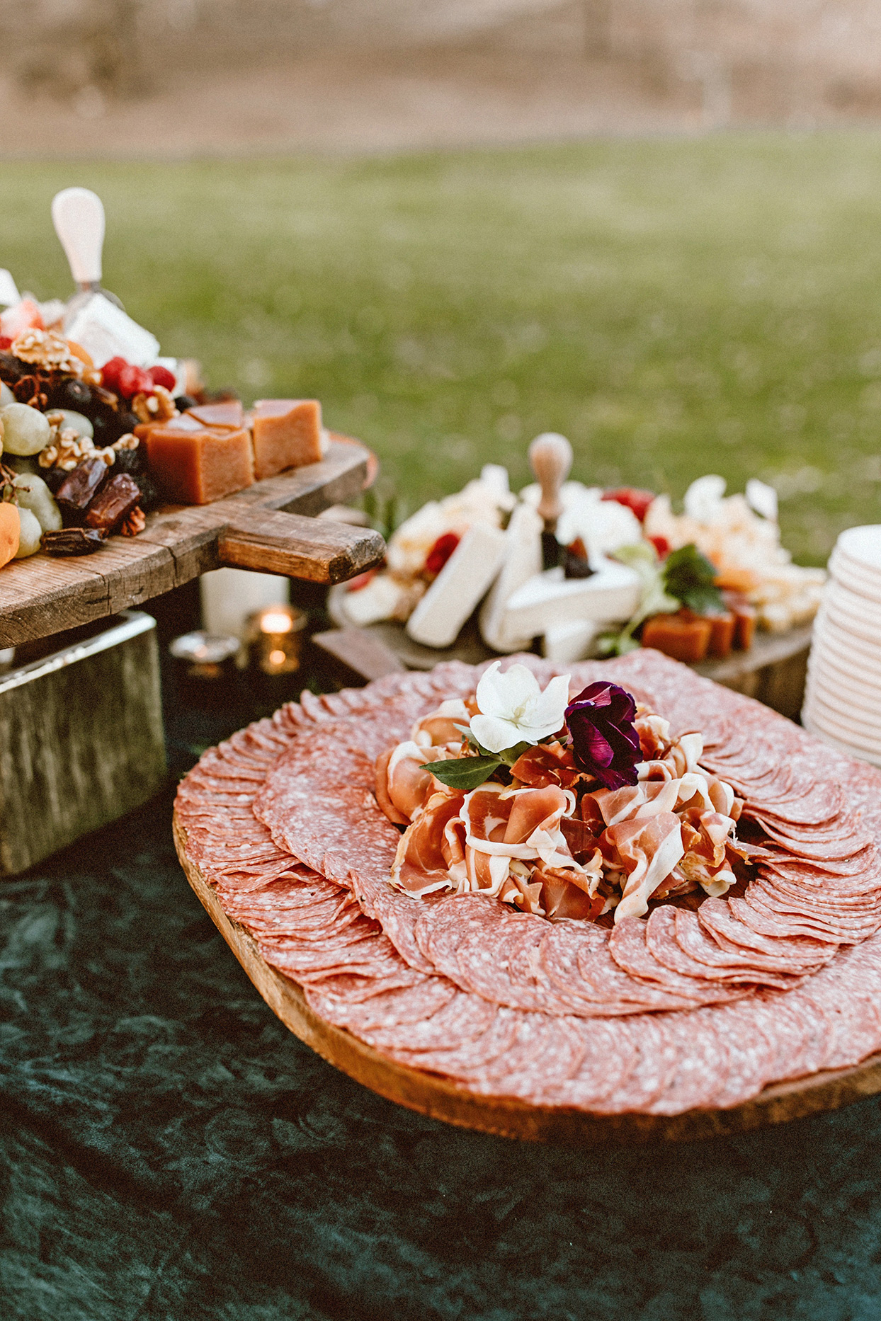 wedding grazing board of salami and prosciutto