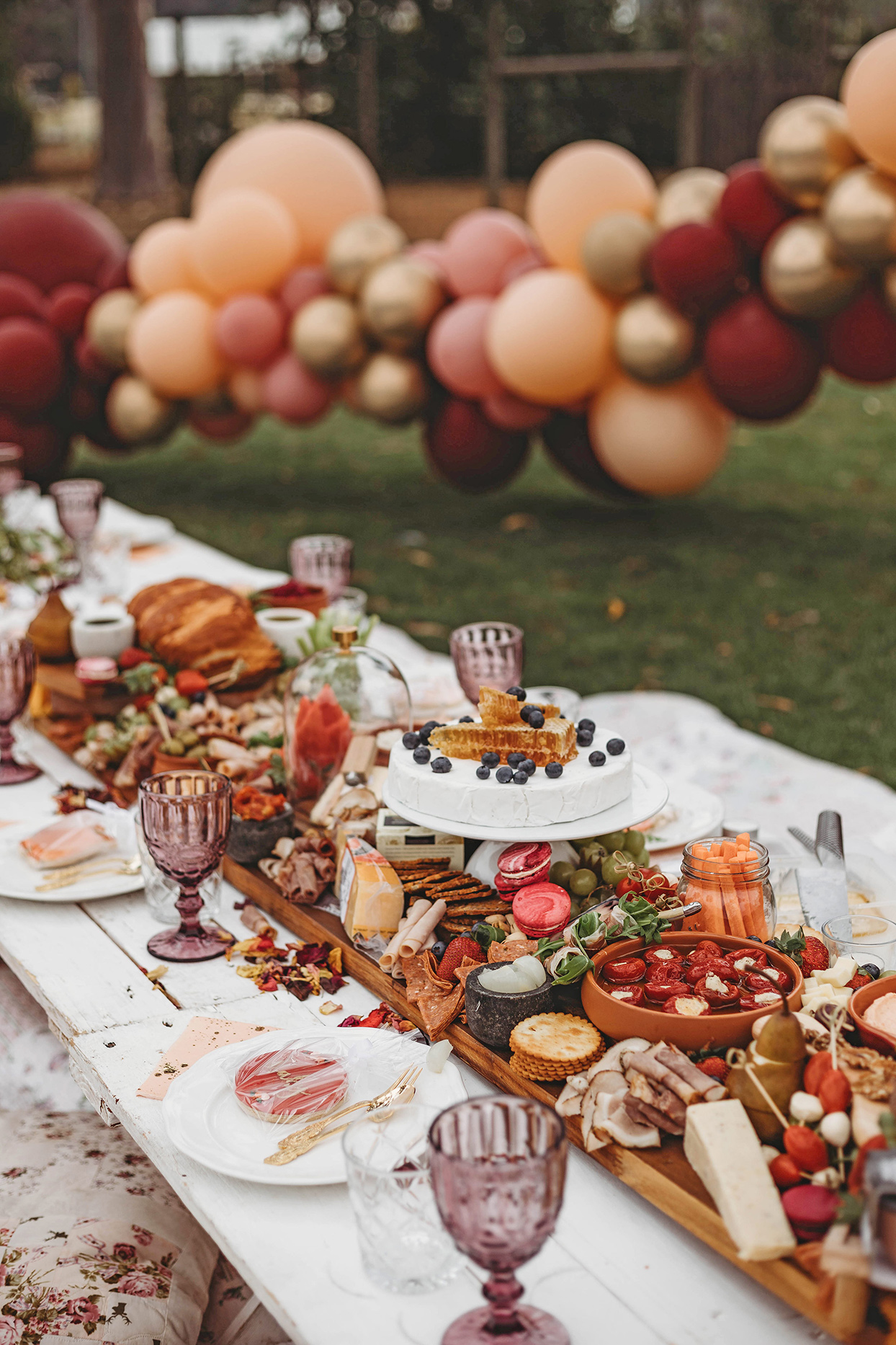 wedding grazing board in center of table