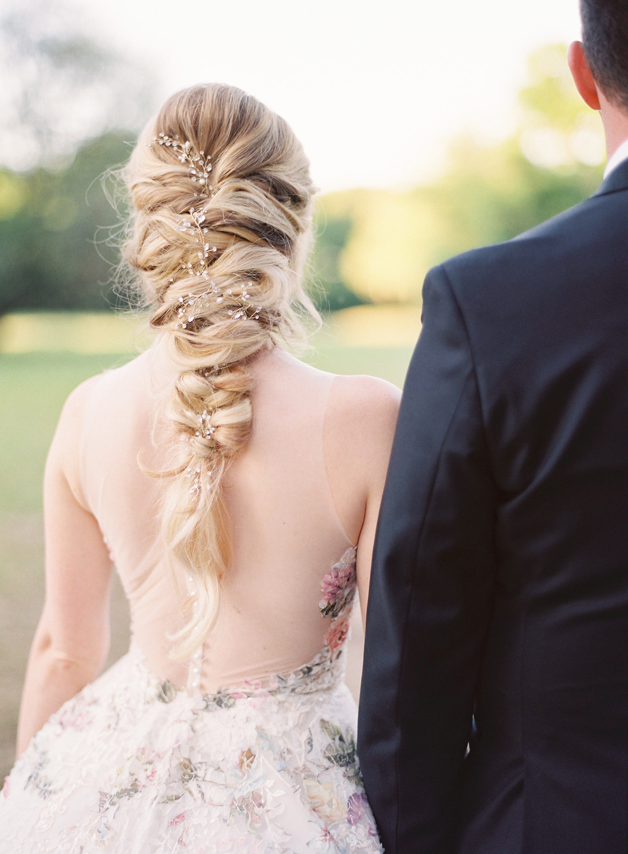 chelsea john bride's wedding braid with floral decoration