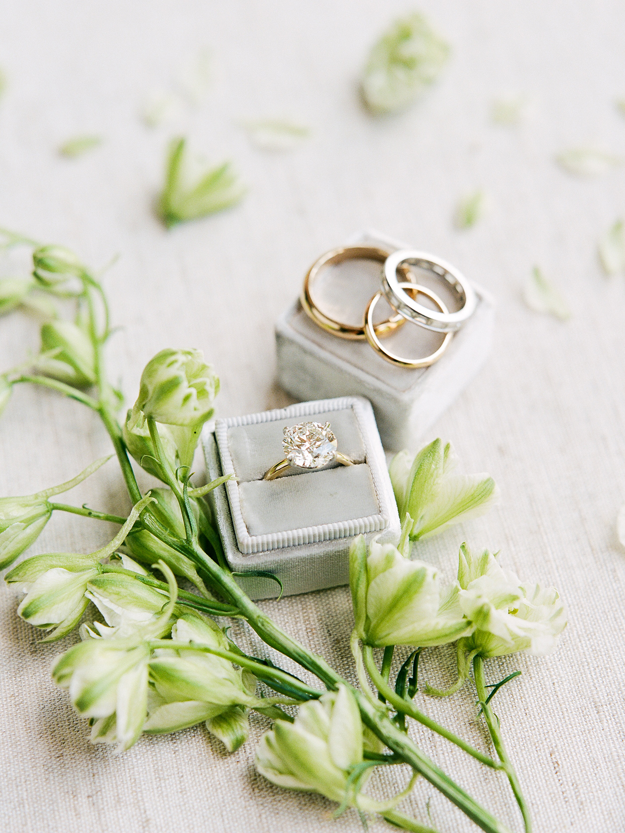 jessica aaron wedding rings in gray boxes