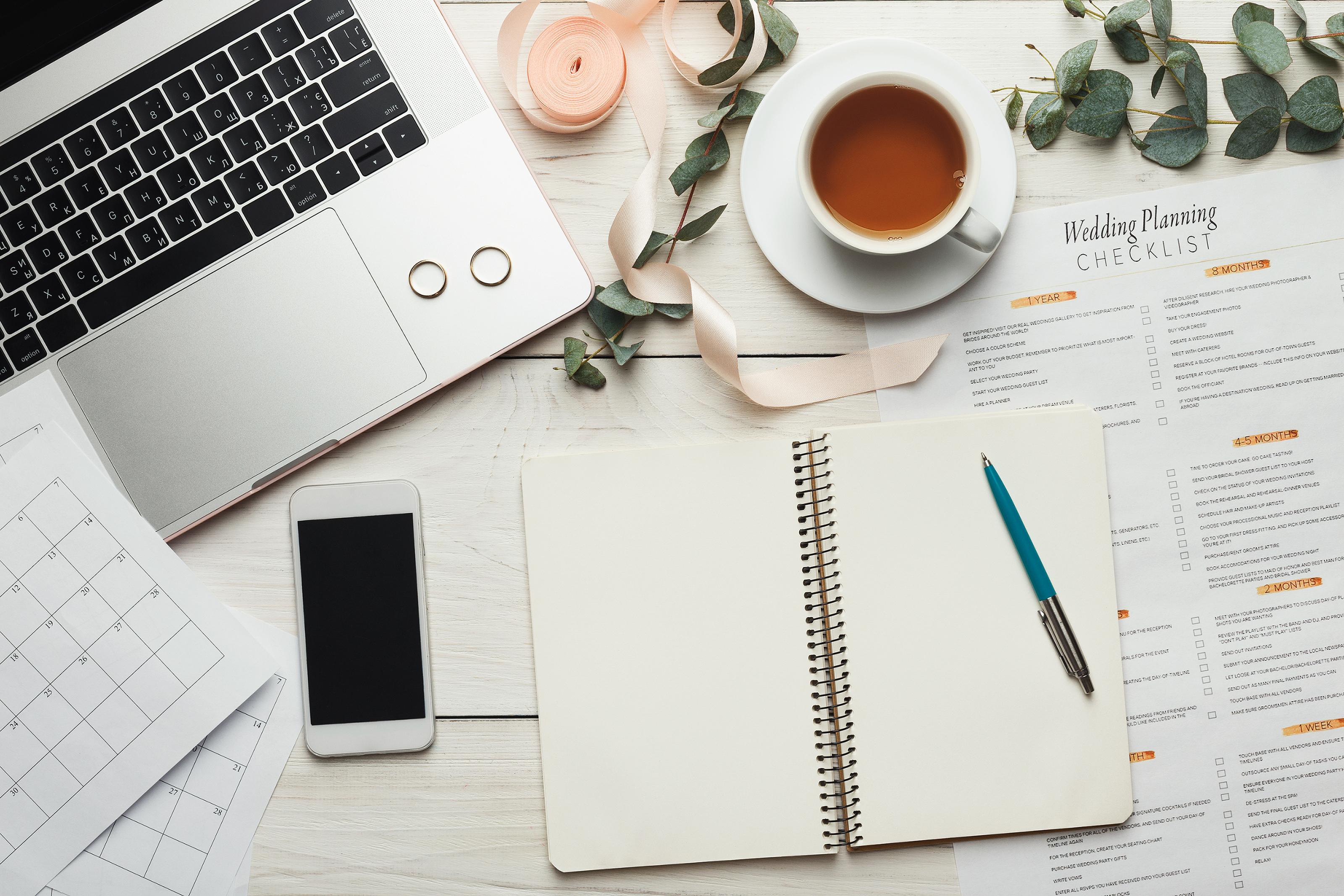 Wedding Planning Checklist and Laptop