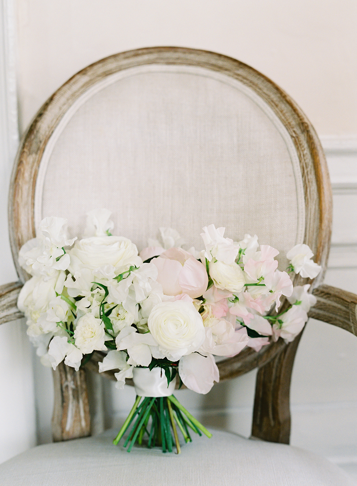 paula terence wedding bouquet on chair
