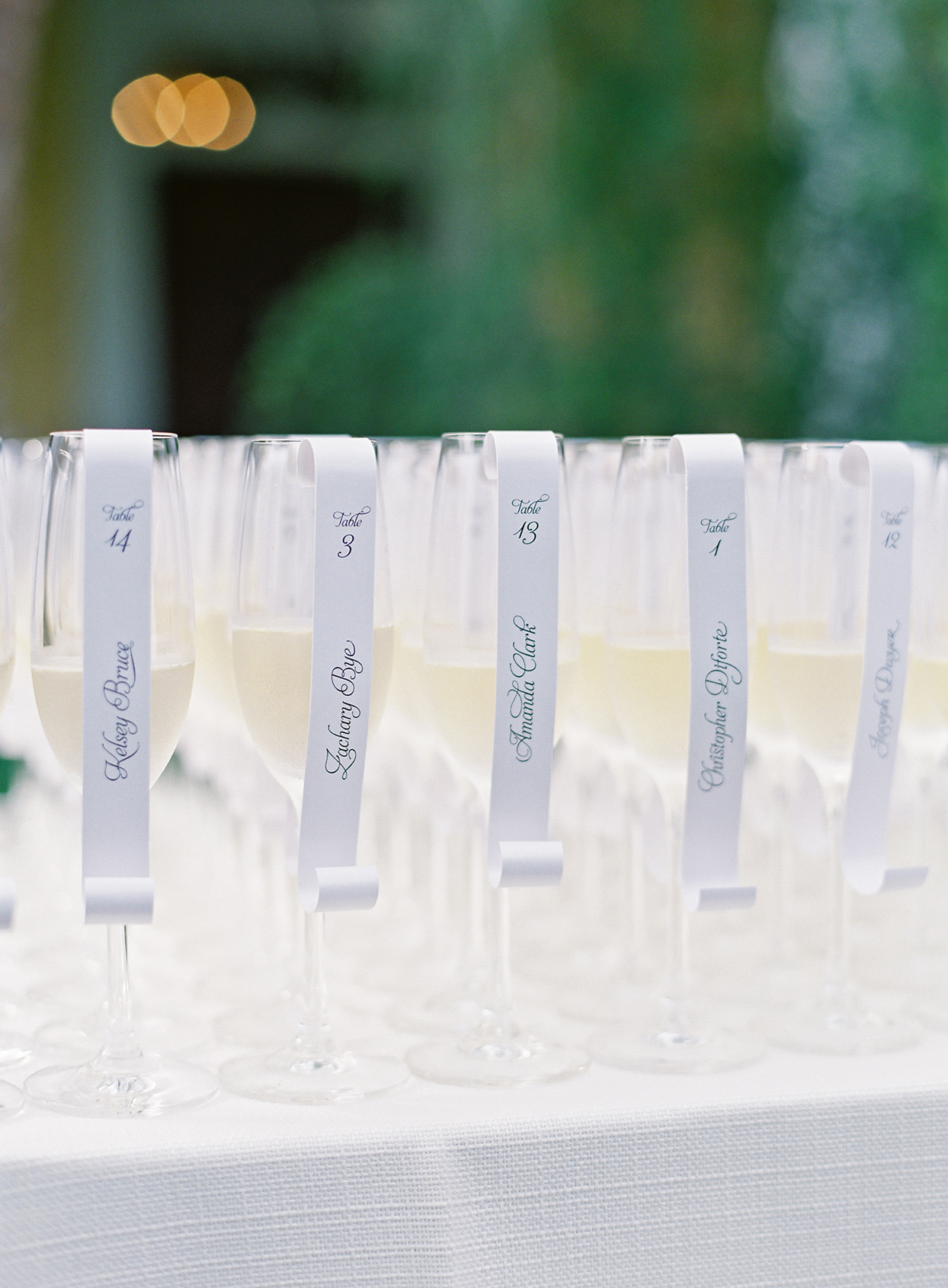 paula terence wedding escort cards on champagne glasses