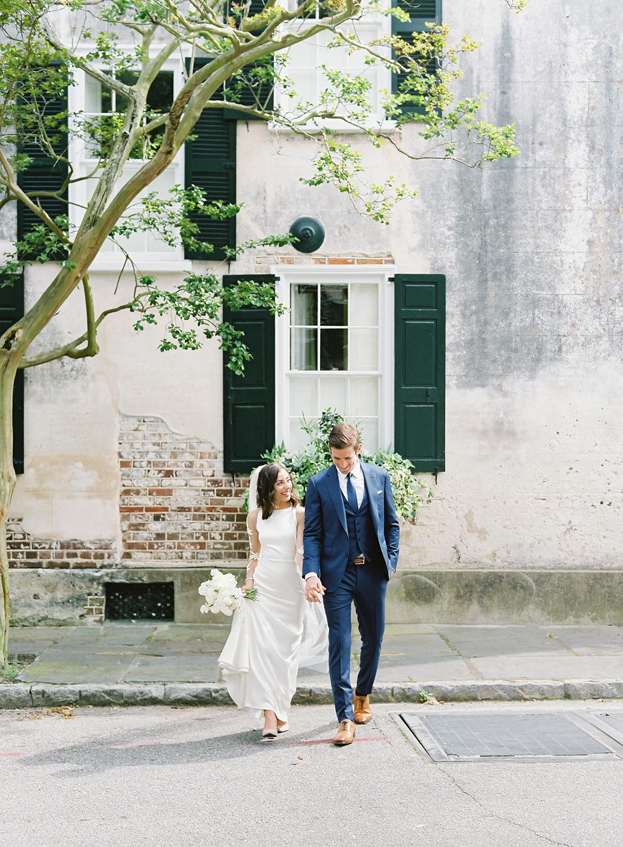 paula terence wedding couple crossing the street