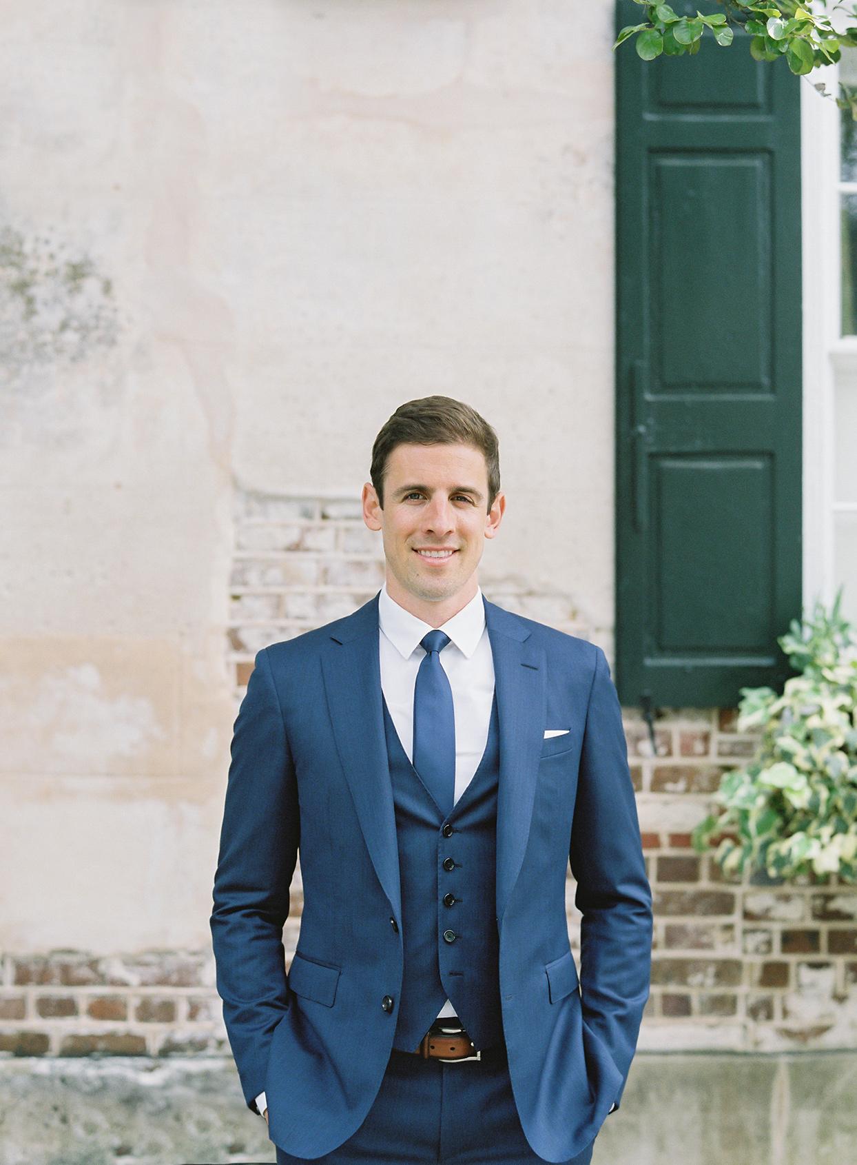 paula terence wedding groom in blue suit
