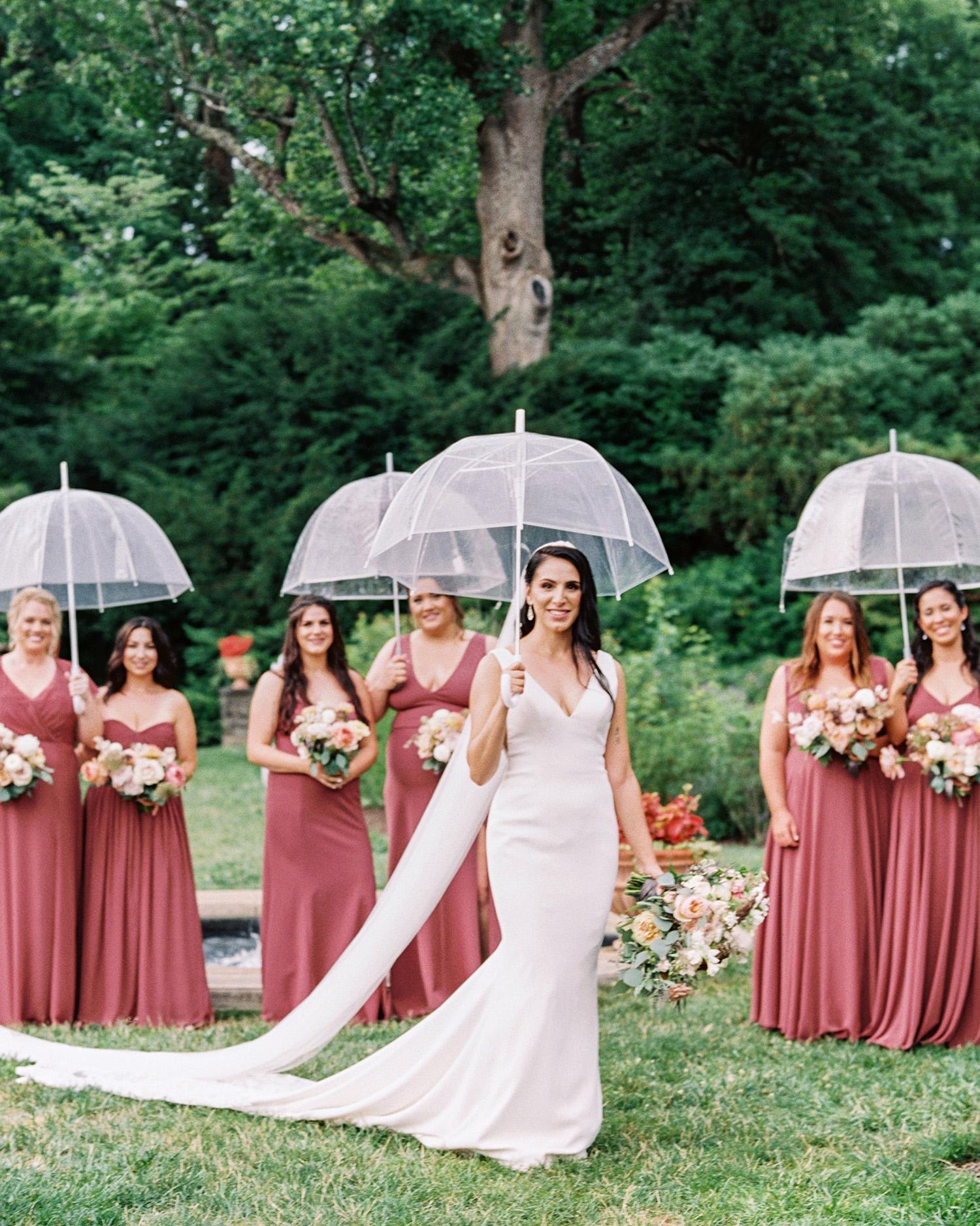 noel mike wedding bridesmaids bride umbrellas