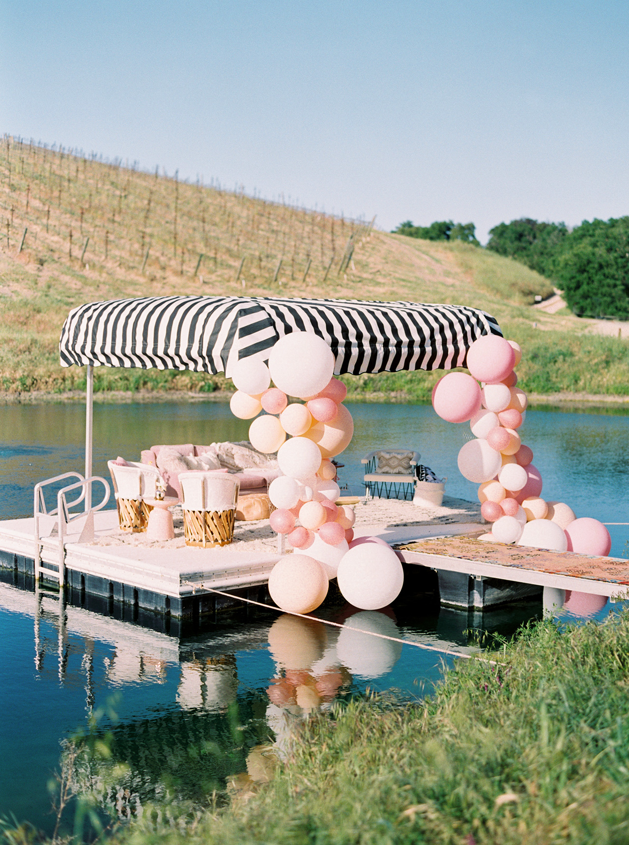summer bridal shower ideas lakeside dock lounge
