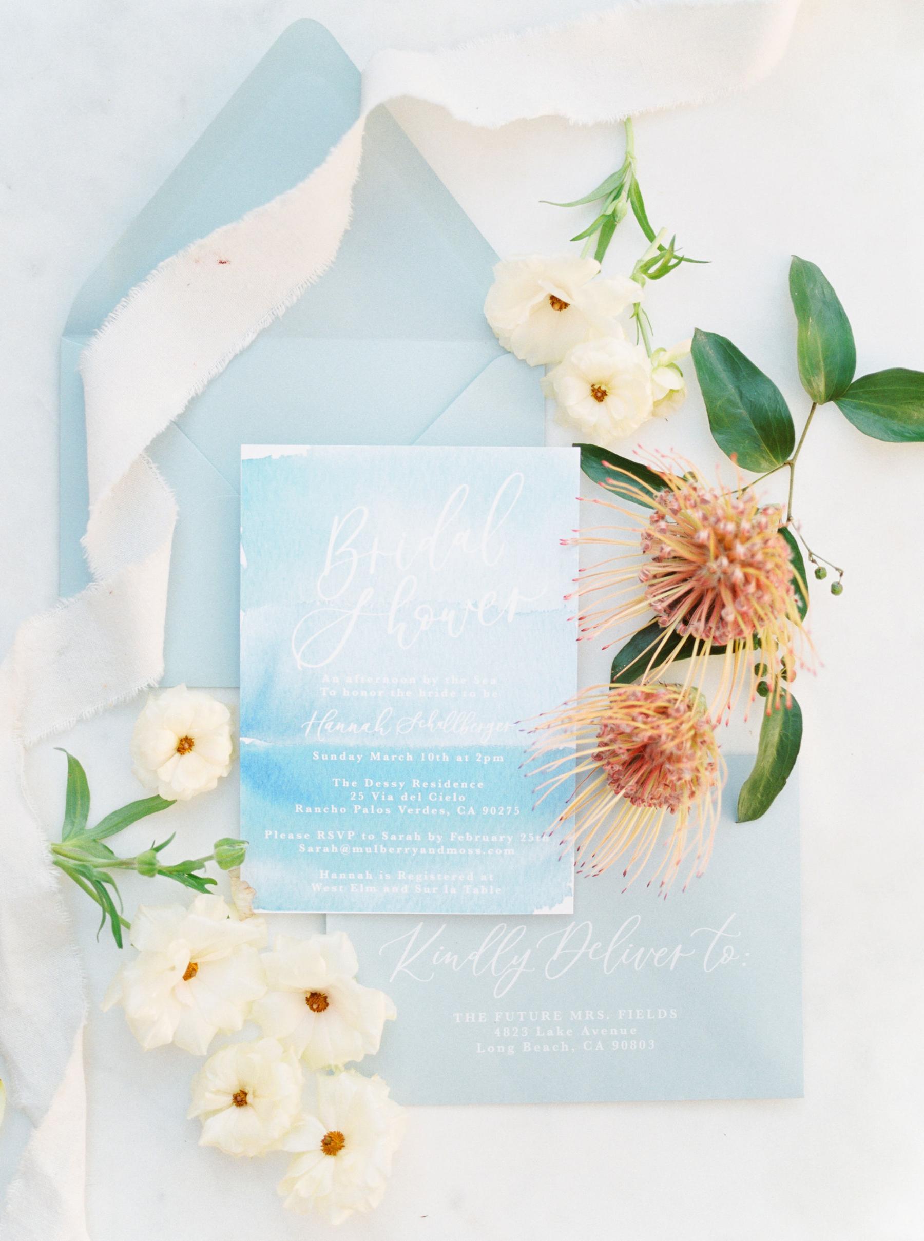 summer bridal shower ocean-inspired invitation