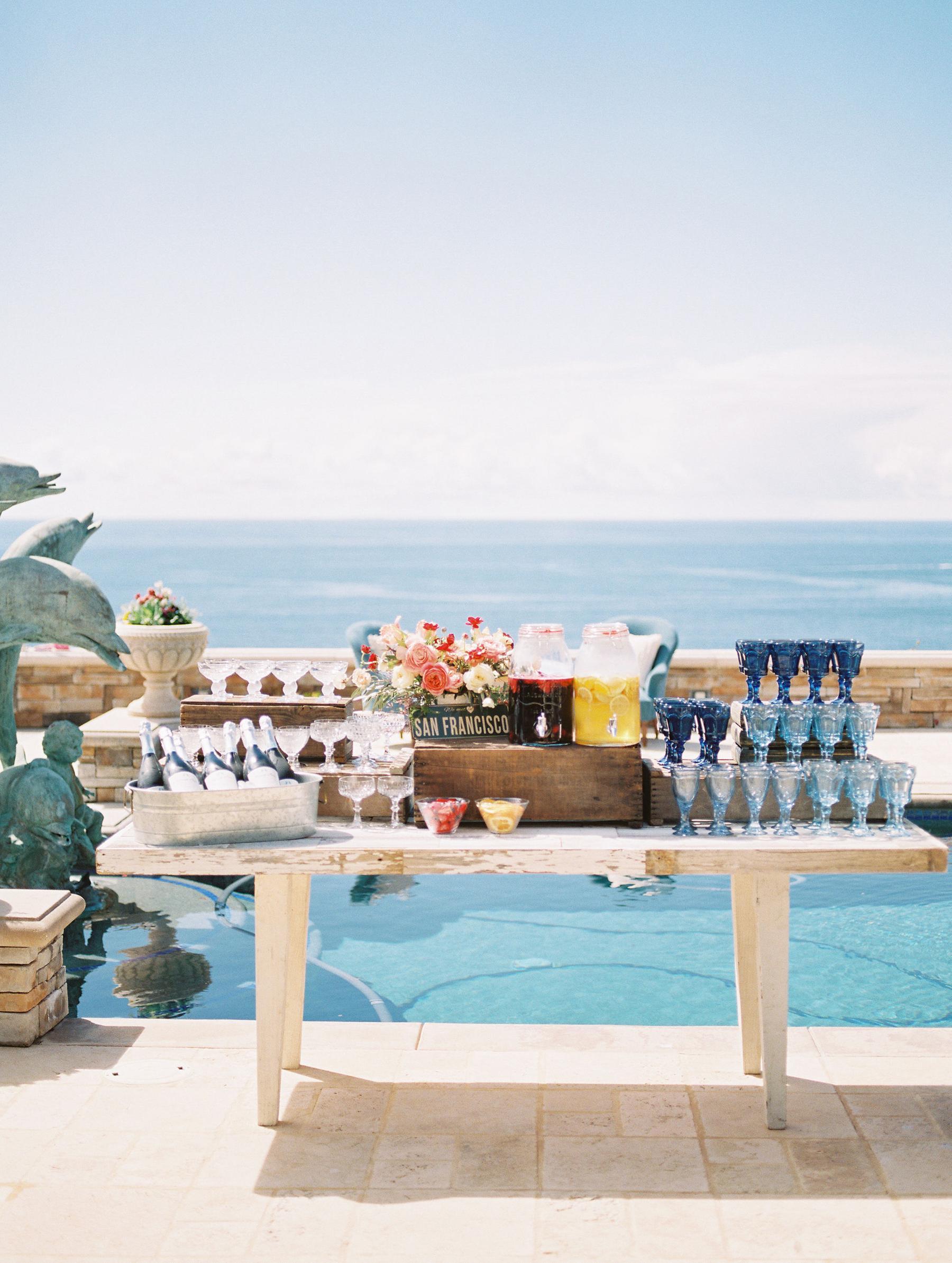 summer bridal shower drink station