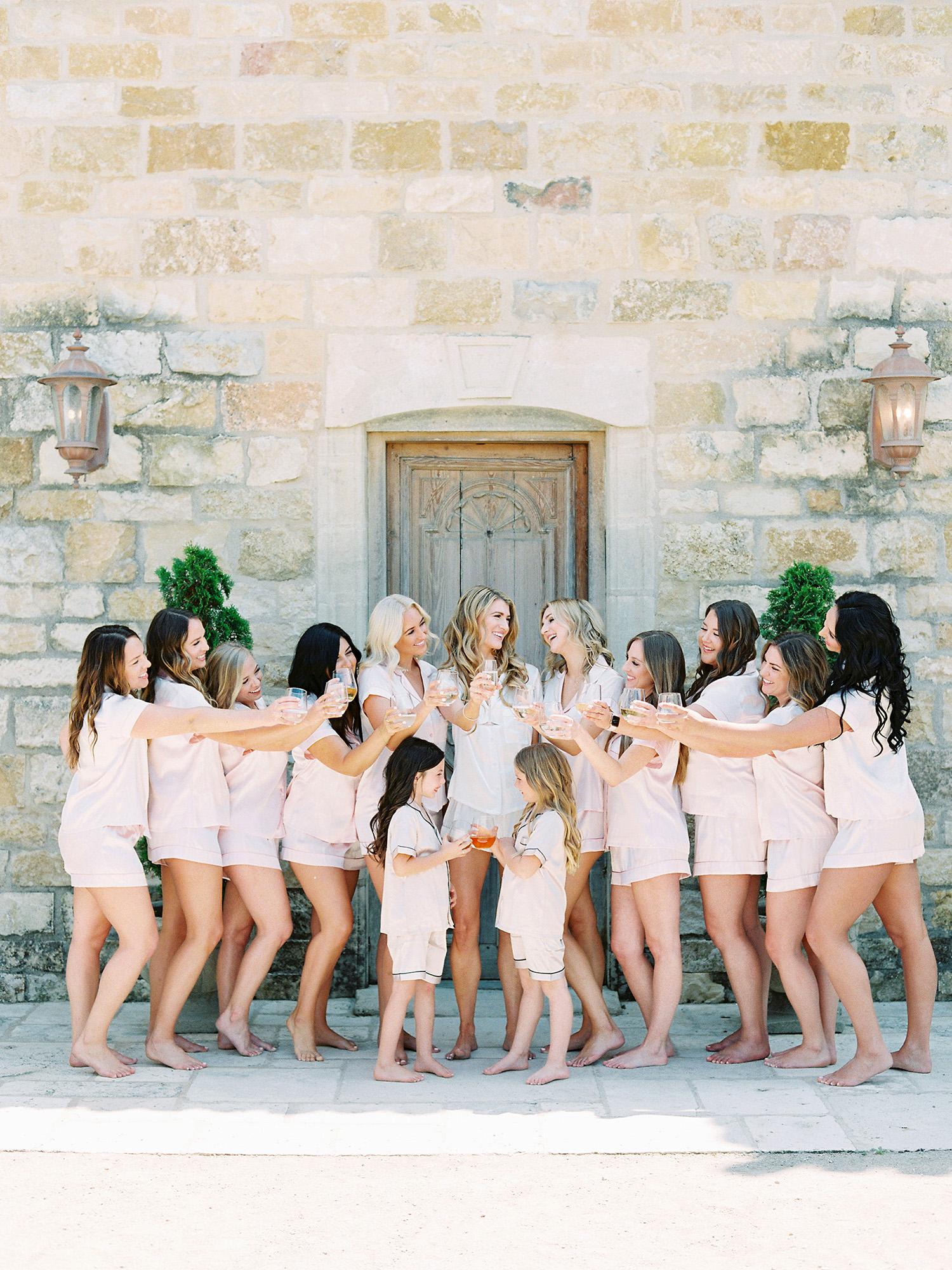 kati erik wedding bride bridesmaids flower girls getting ready toast