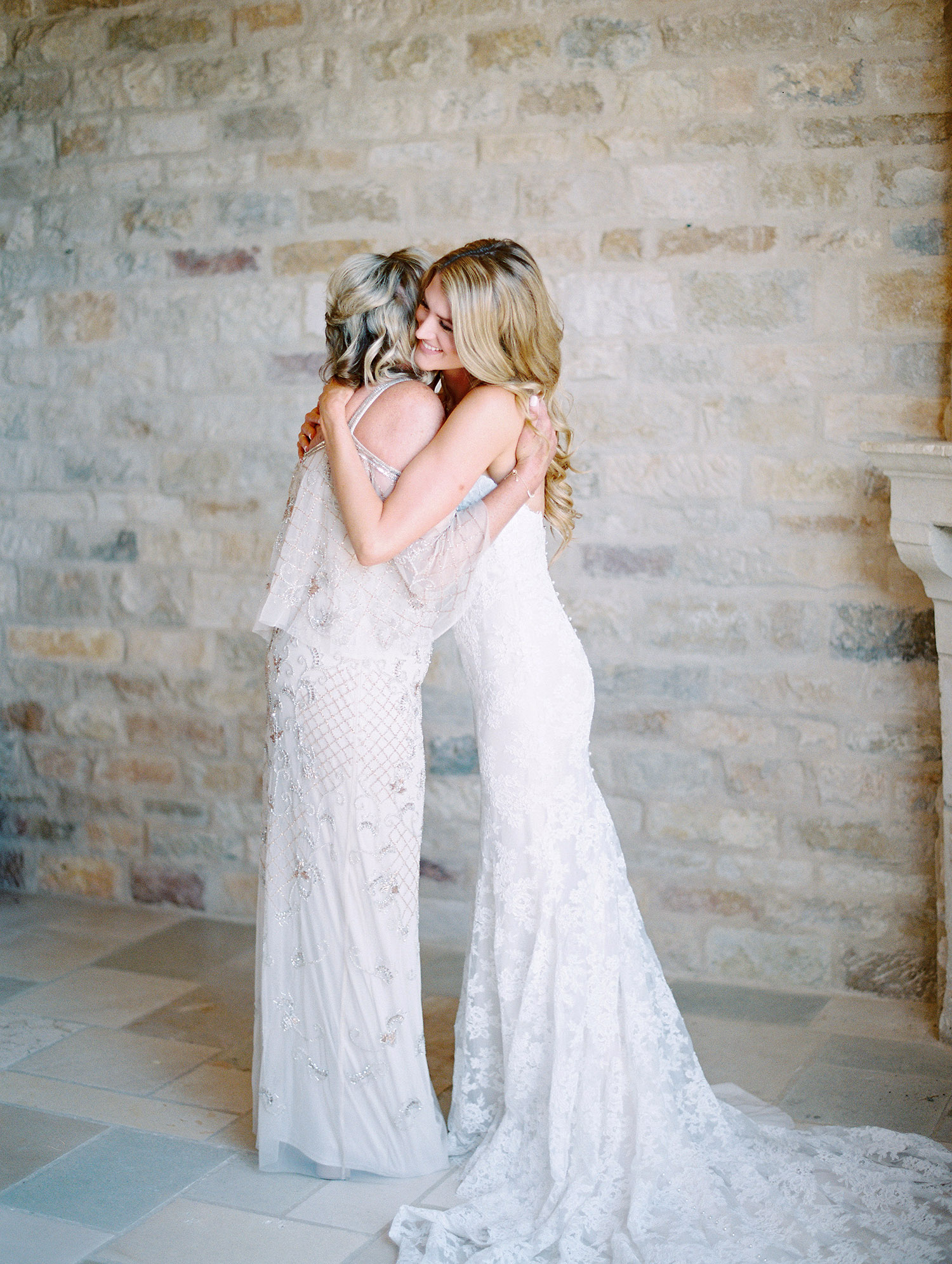 kati erik wedding bride and mother hug
