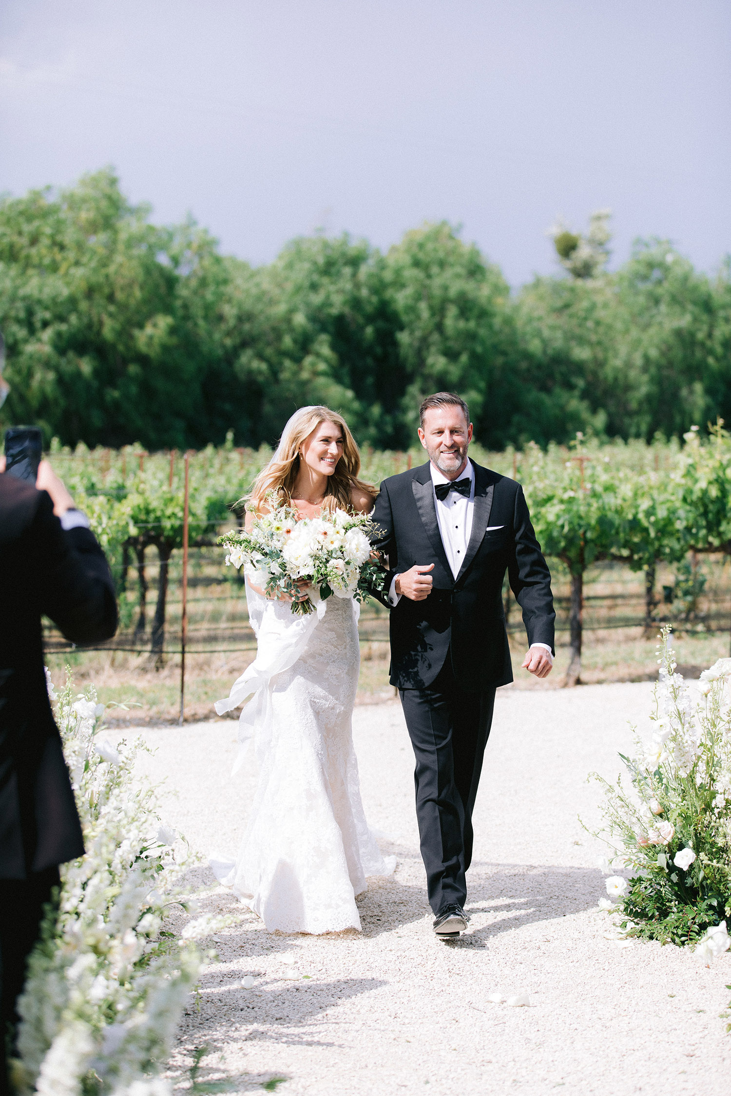 kati erik wedding bride and father walk down the aisle