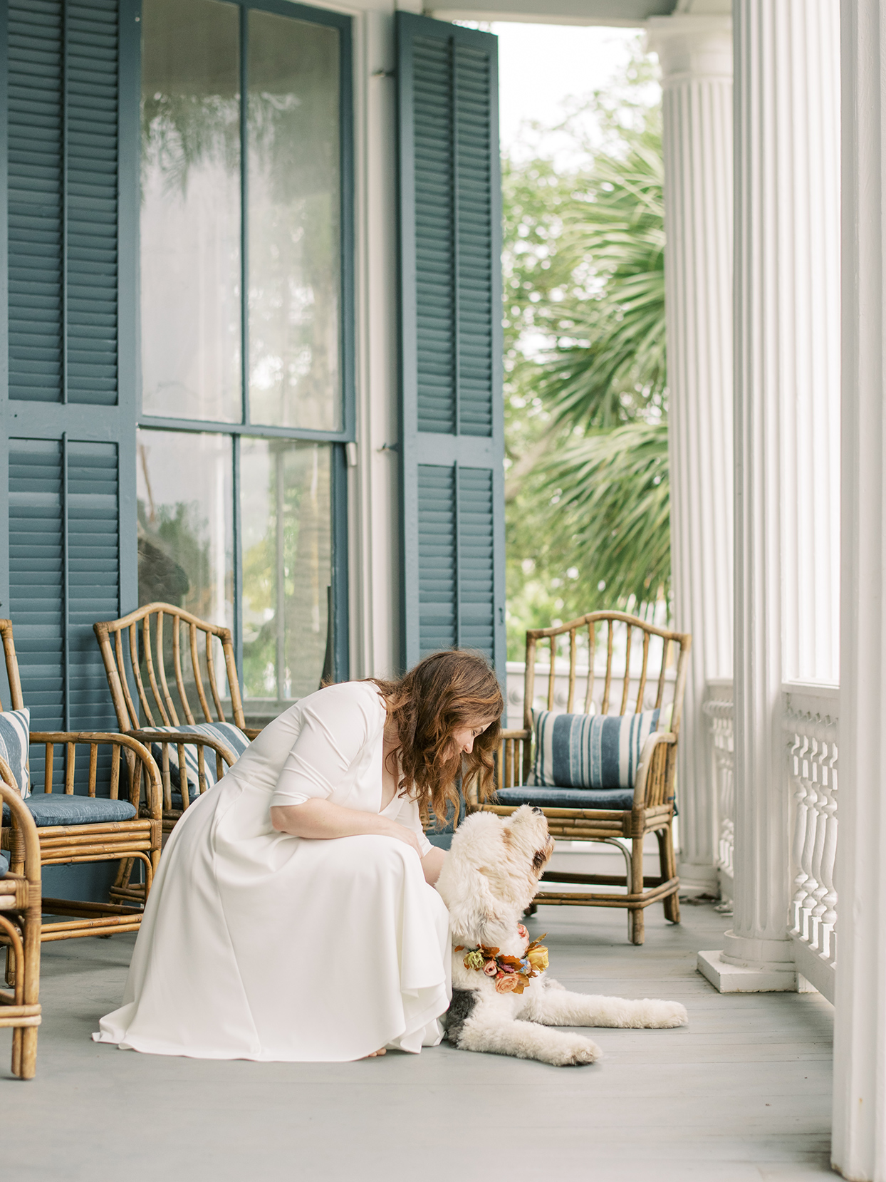 elizabeth scott wedding bride with dog on porch