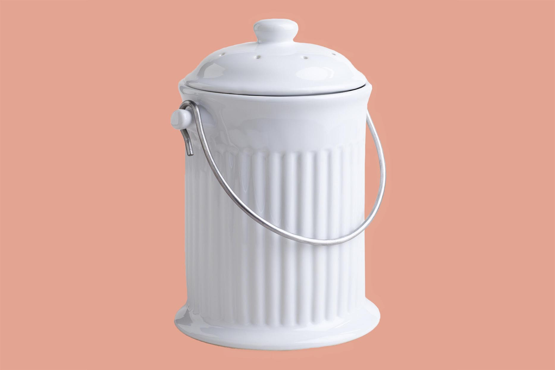 World Market White Ceramic Compost Bucket with Filter