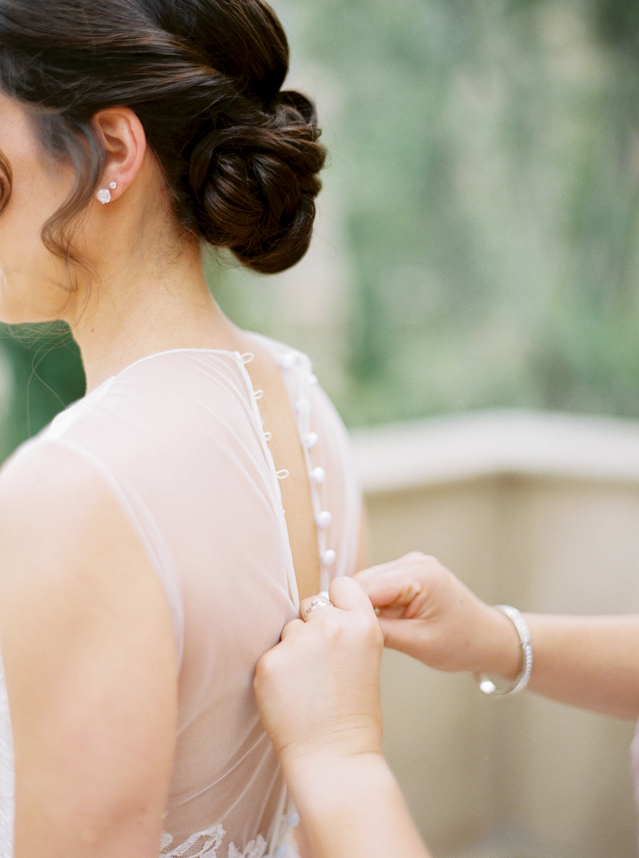 brides wedding dress illusion neckline button down back