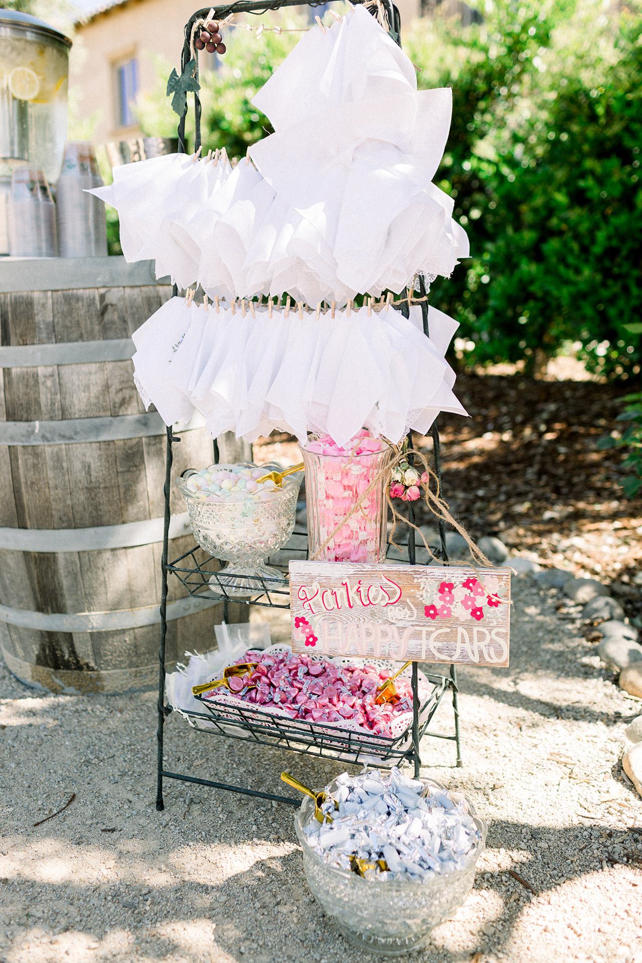 DIY handkerchief candy display outdoors