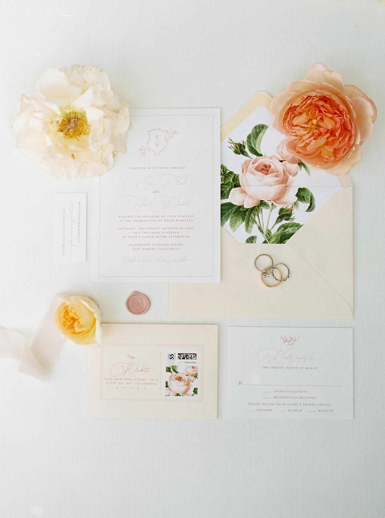 wedding invitation blush-hued stationary large floral blooms